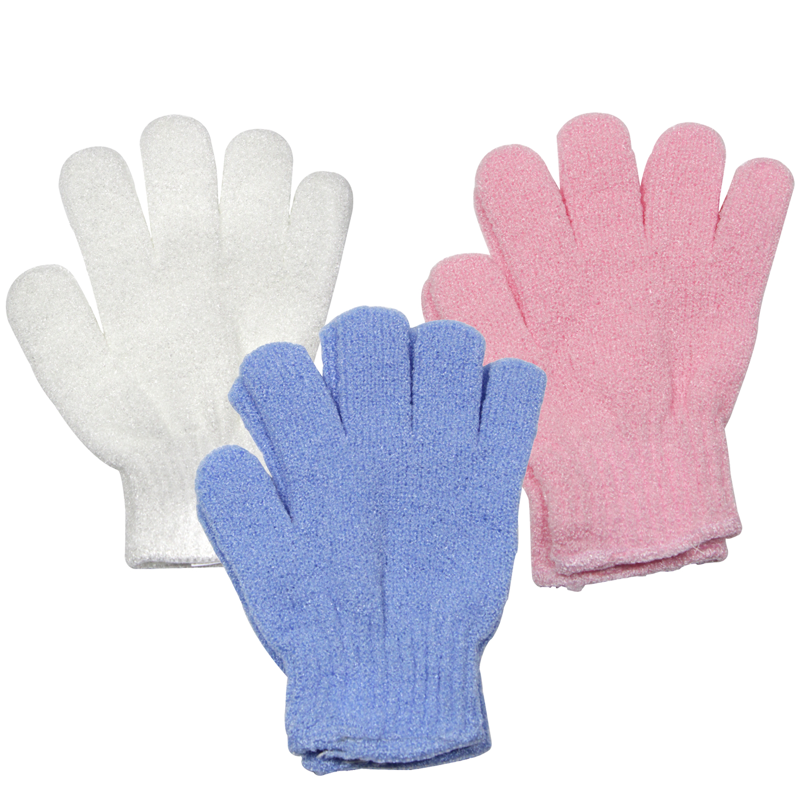 SIL EXFOLIATING GLOVES BLUE, PINK, WHITE