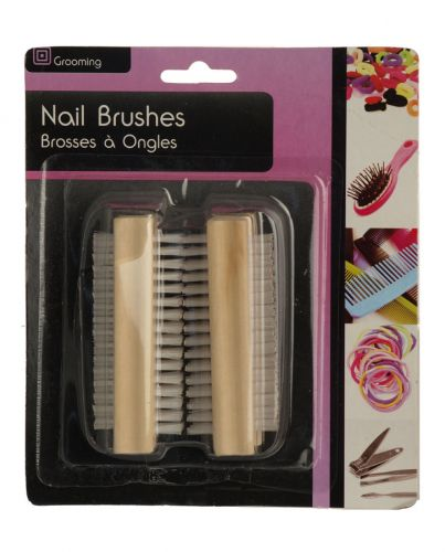 SIL NAIL BRUSHES 2PK ASSORTED WOOD 2 SIDED X12