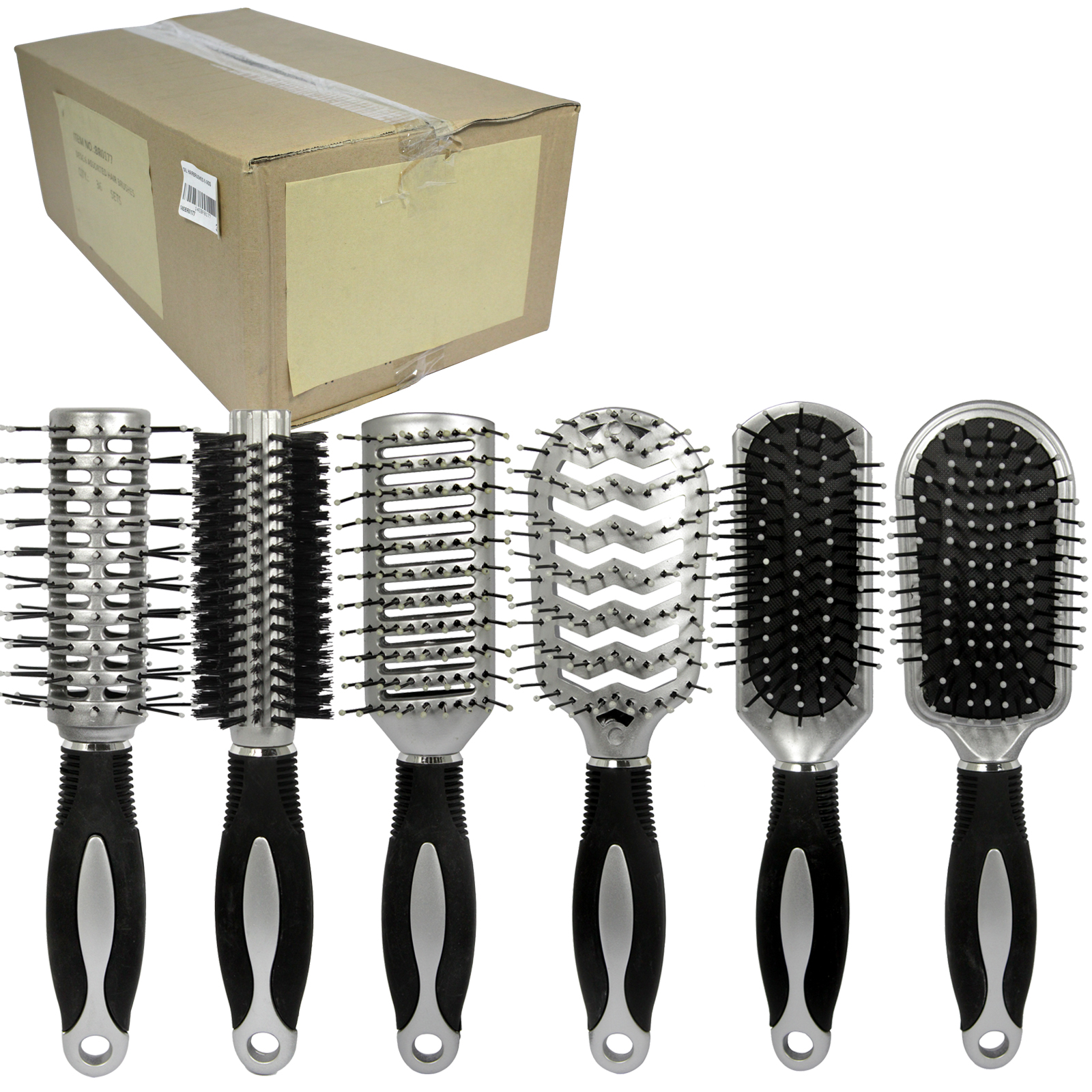 SIL HAIRBRUSHES 6 ASS  X36