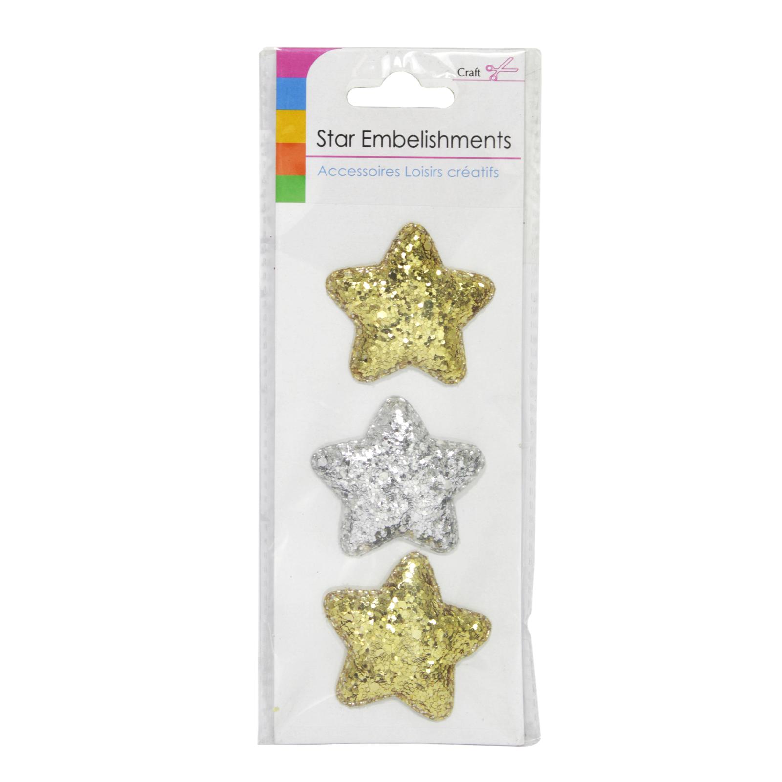 SIL GLITTER STAR EMBELLISHMENT 3PK
