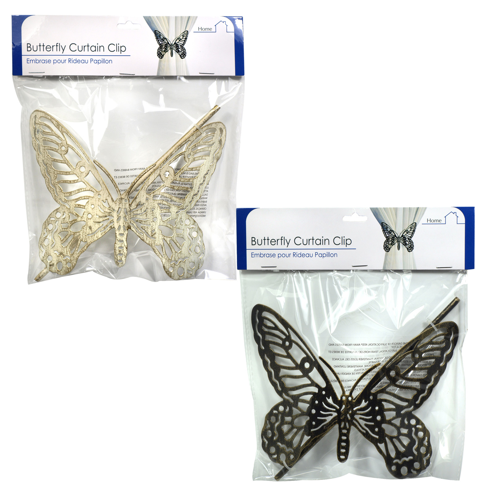 SIL METAL BUTTERFLY CURTAIN CLIP X12