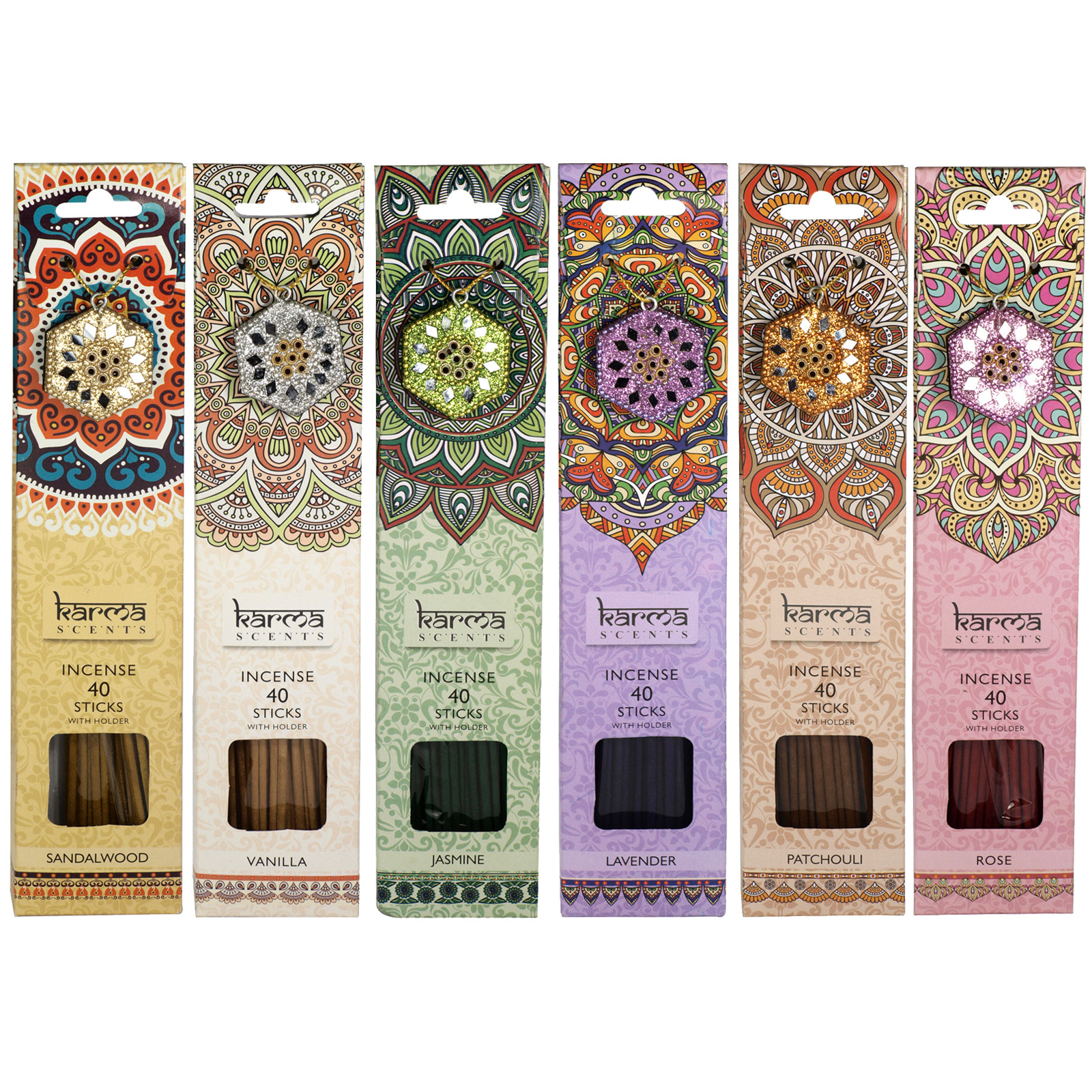 SIL KARMA 40 INCENSE STICKS+HOLDER 6 ASSORTED
