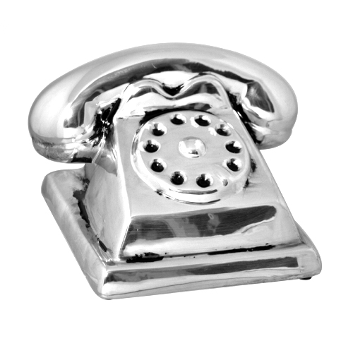 SIL ANTIQUE SILVER MONEY BOX PHONE MEDIUM
