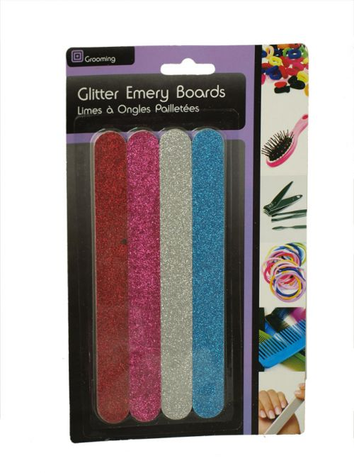 SIL GLITTER EMERY BOARDS 4PC CARDED X12
