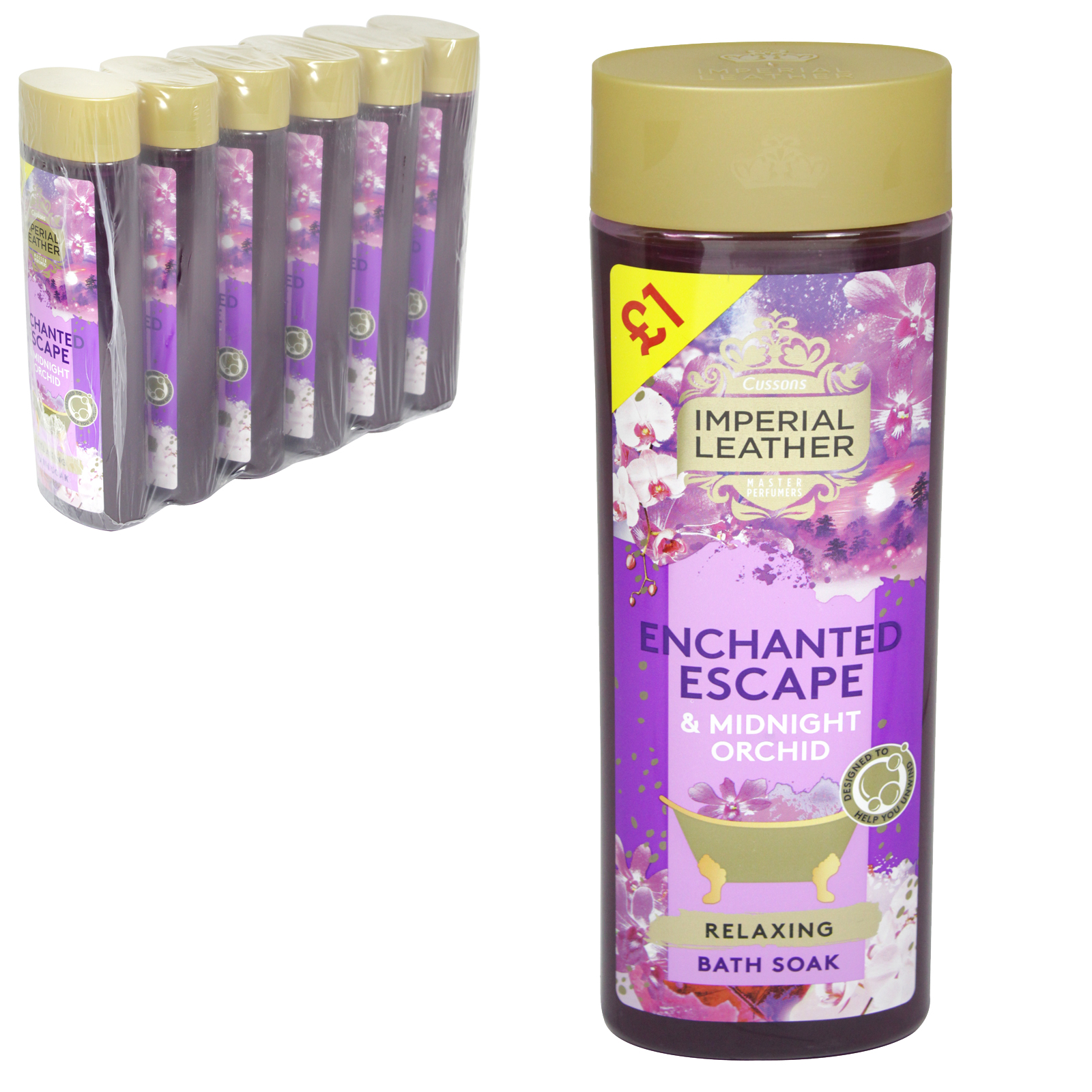 IMP LEATHER CREME BATH 500ML RELAXING ORCHID & YLANG YLANG £1 X6