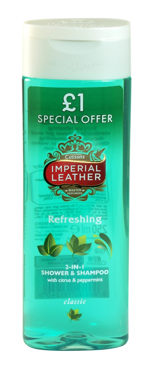IMPERIAL LEATHER SHOWER 250ML REFRESHING PEPPERMINT & EUCALYPTUS PM ?1 X6