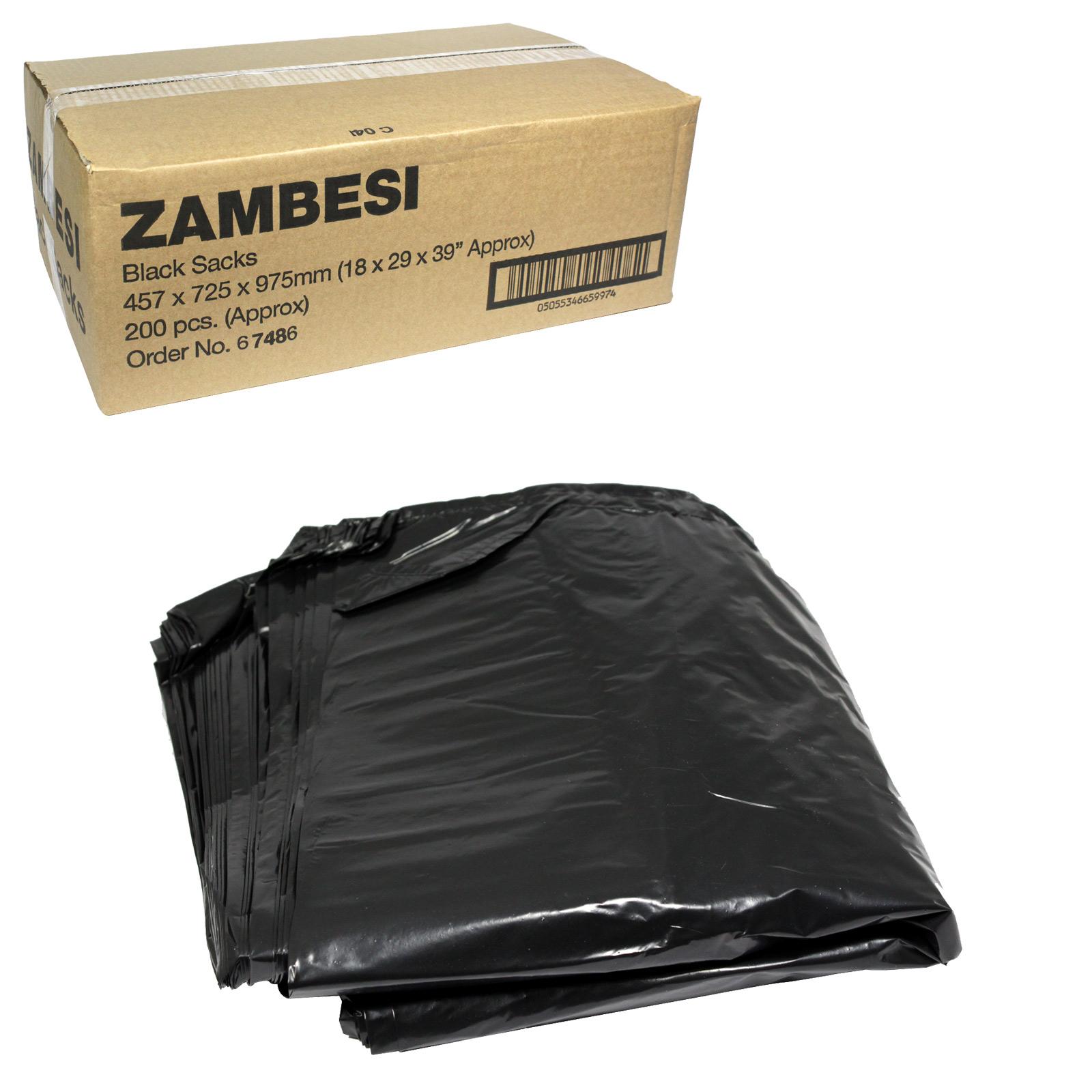 ZAMBESI BLACK SACKS EXTRA HEAVY DUTY 18X29X39X45 MICRON X200