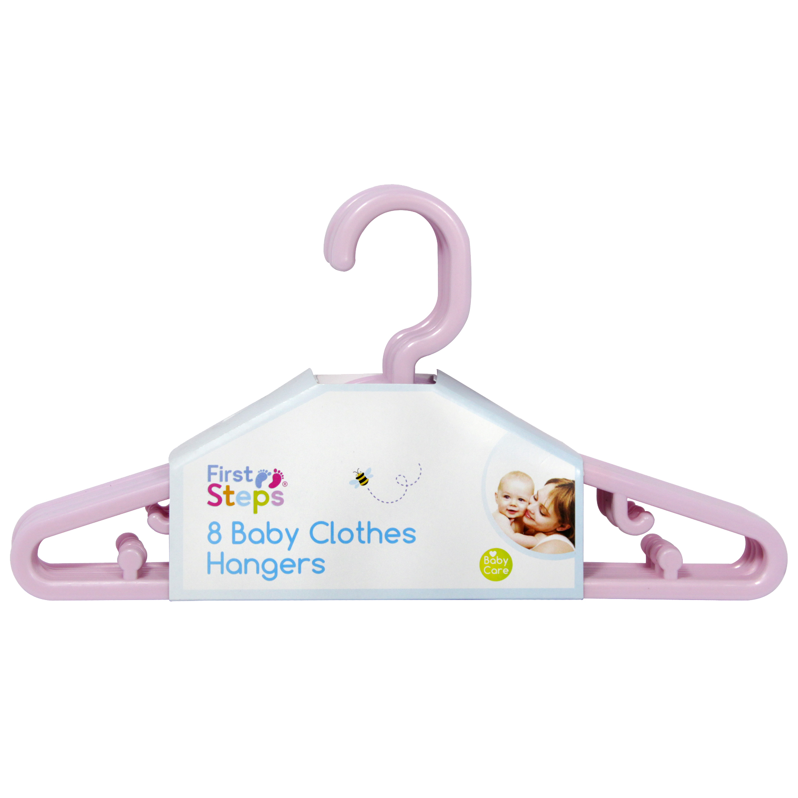 FIRST STEPS 8PK X 22CM BABY CLOTHES HANGERS PINK
