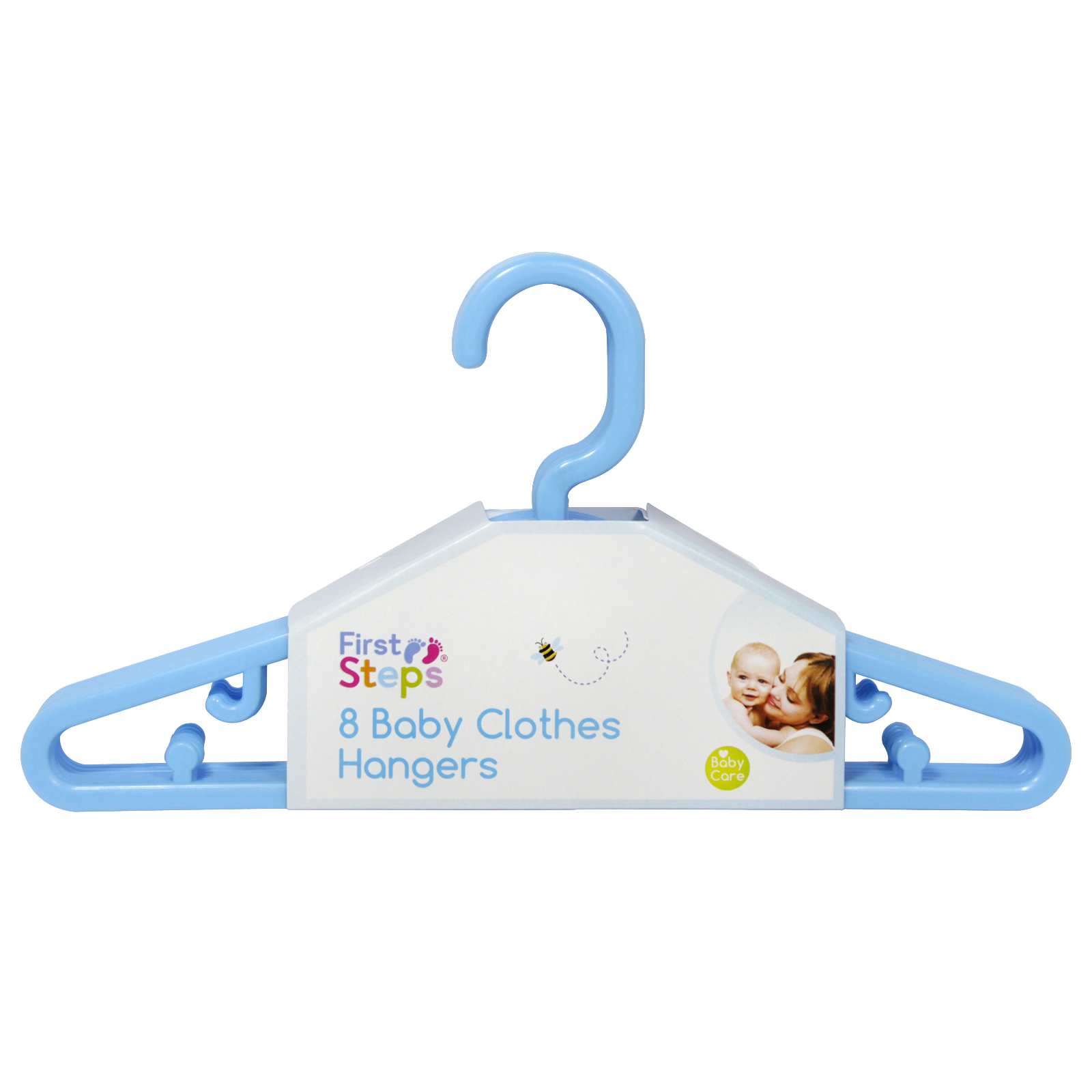 FIRST STEPS 8PK X 22CM BABY CLOTHES HANGERS BLUE
