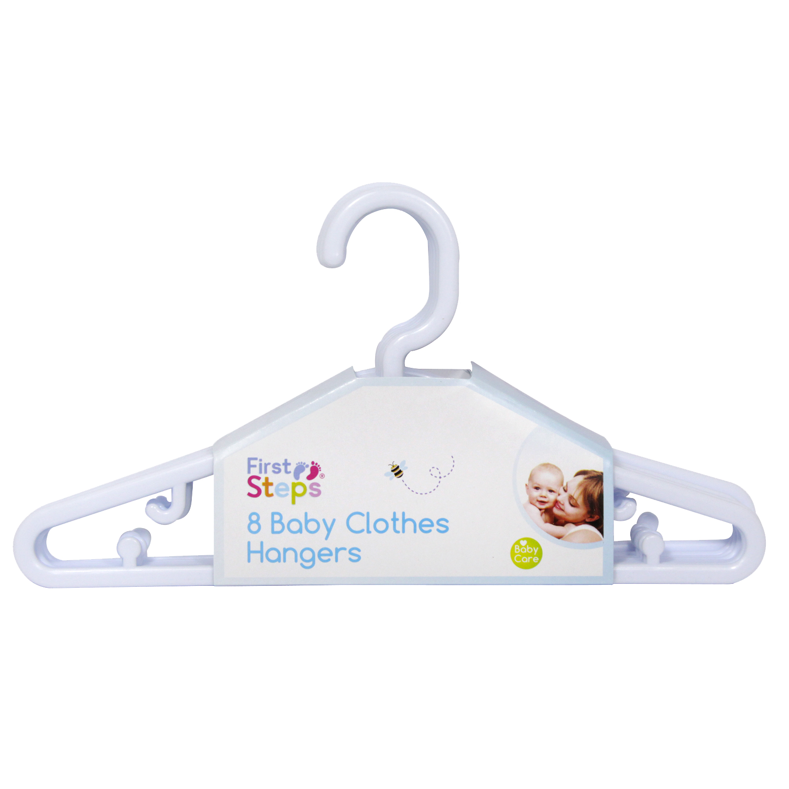 FIRST STEPS 8PK X 22CM BABY CLOTHES HANGERS WHITE