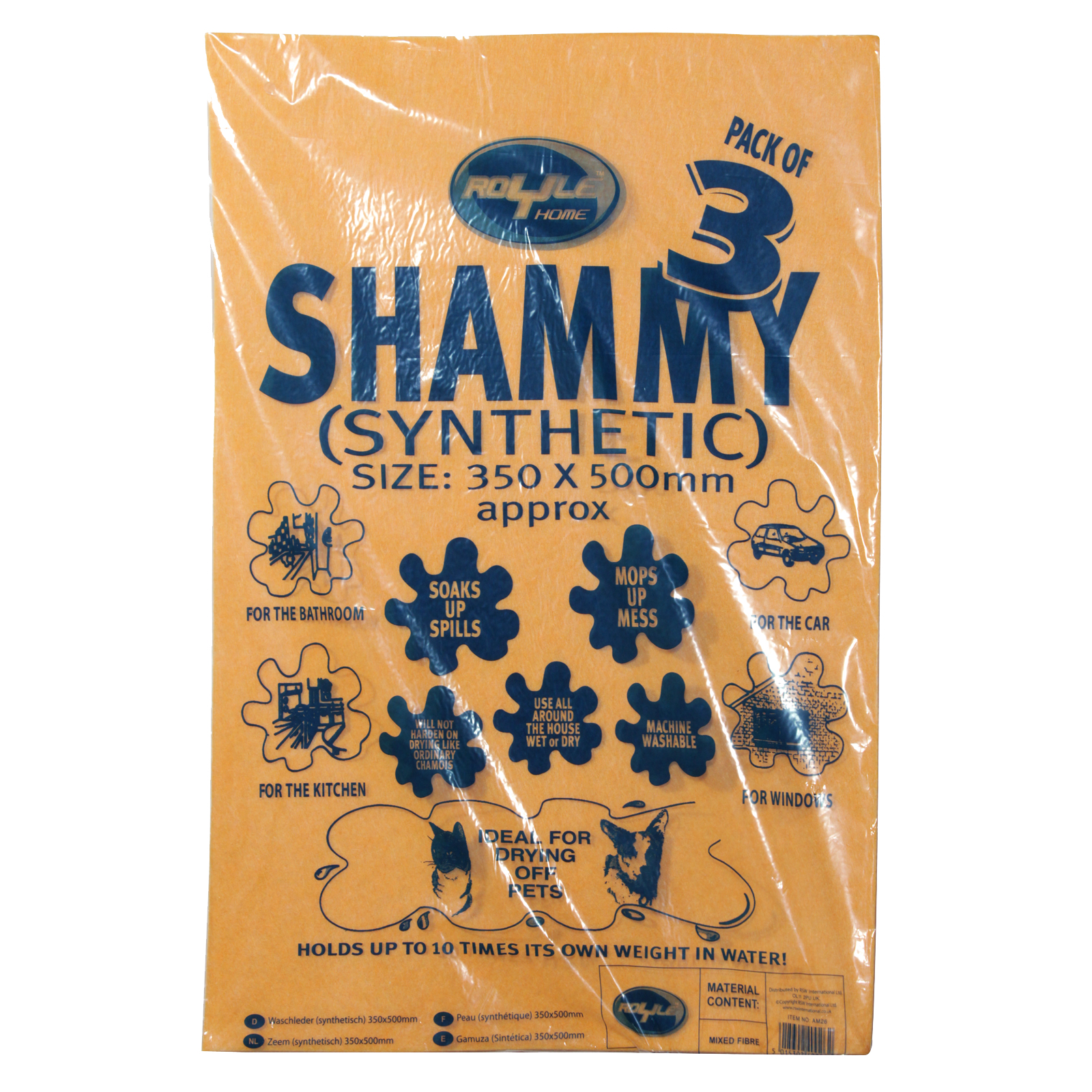 ROYLE SHAMMY 3PK SYNTHETIC 350X500MM X10