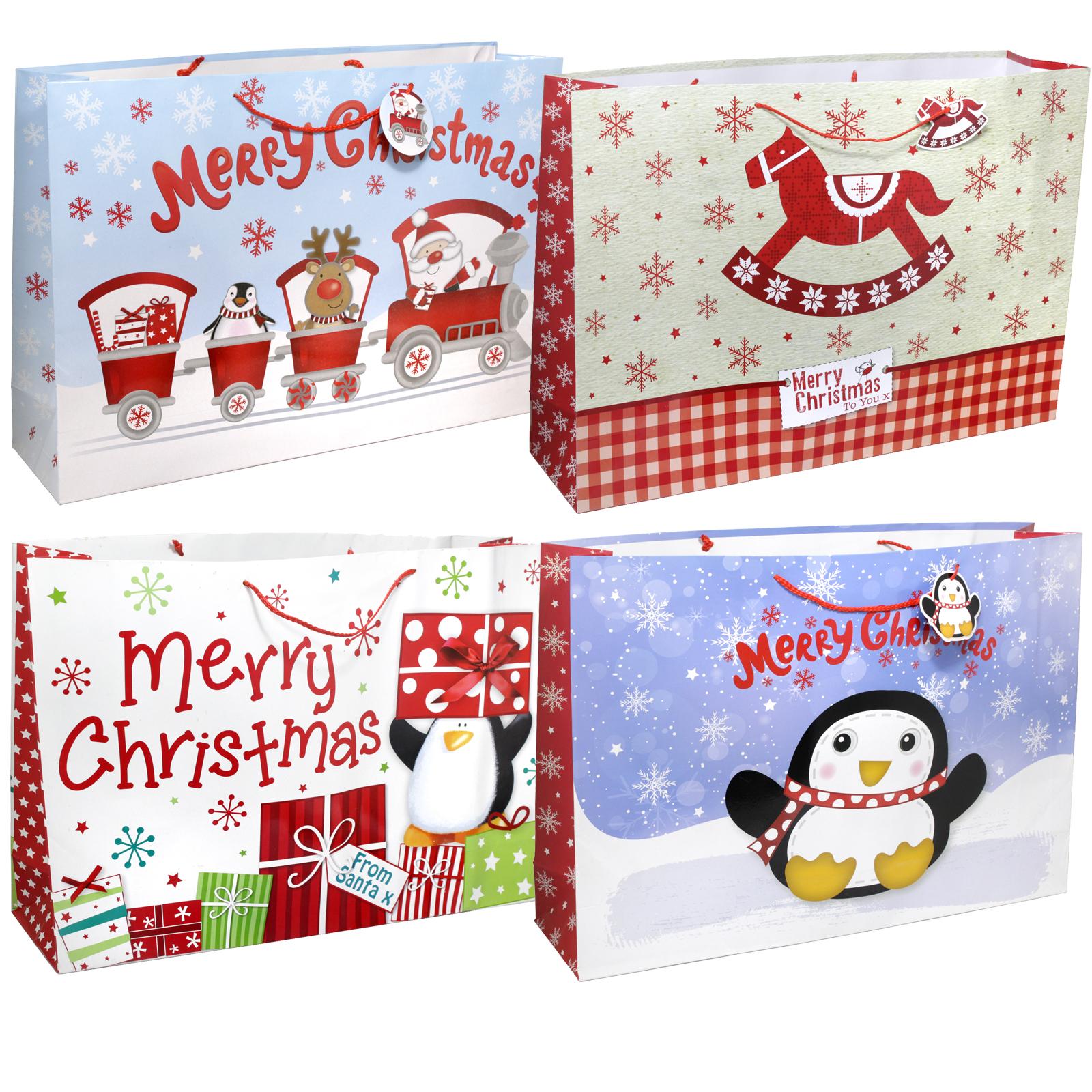 CHRISTMAS GIFT BAG GIANT LANDSCAPE 4 ASSORTED DESIGNS