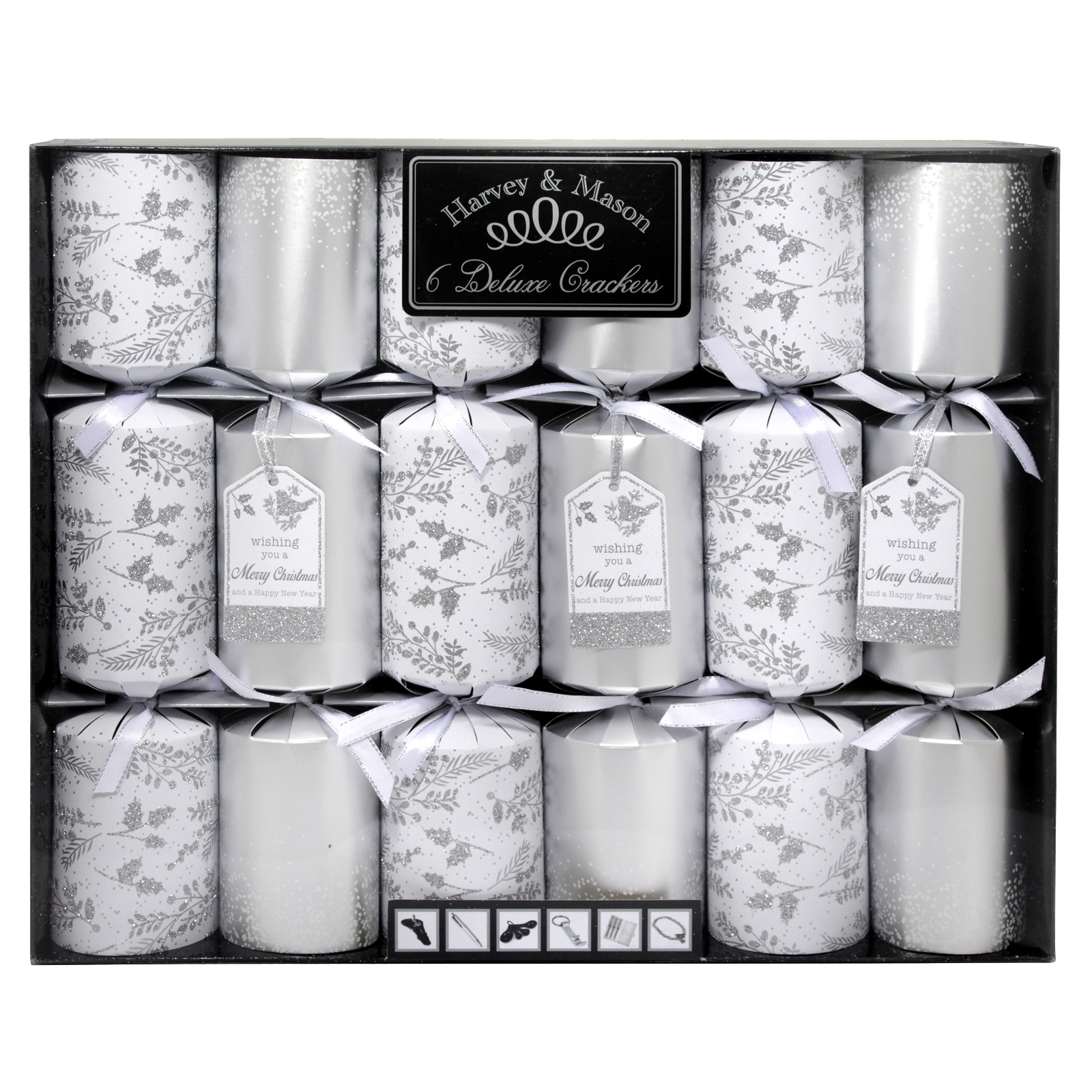 X-MAS CRACKERS 6X14 DELUXE SILVER
