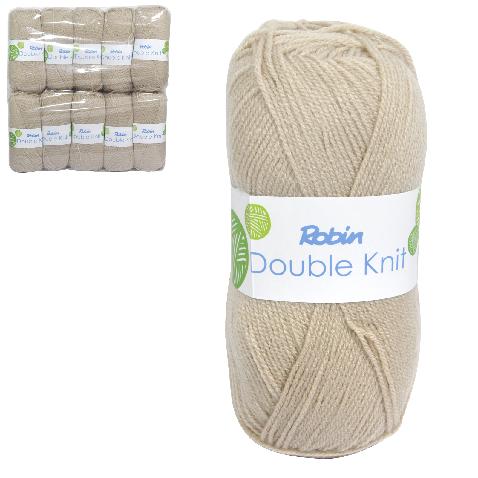 ROBIN 4032 DOUBLE KNIT WOOL WEIGHT 100GM LENGTH 300M OATMEAL X10