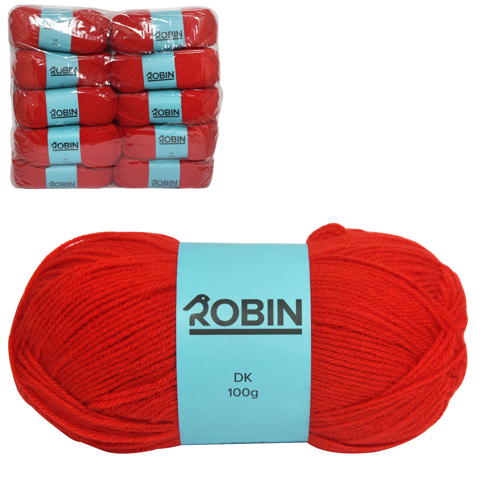 ROBIN 4032 DOUBLE KNIT WOOL WEIGHT 100GM LENGTH 300M RED X10