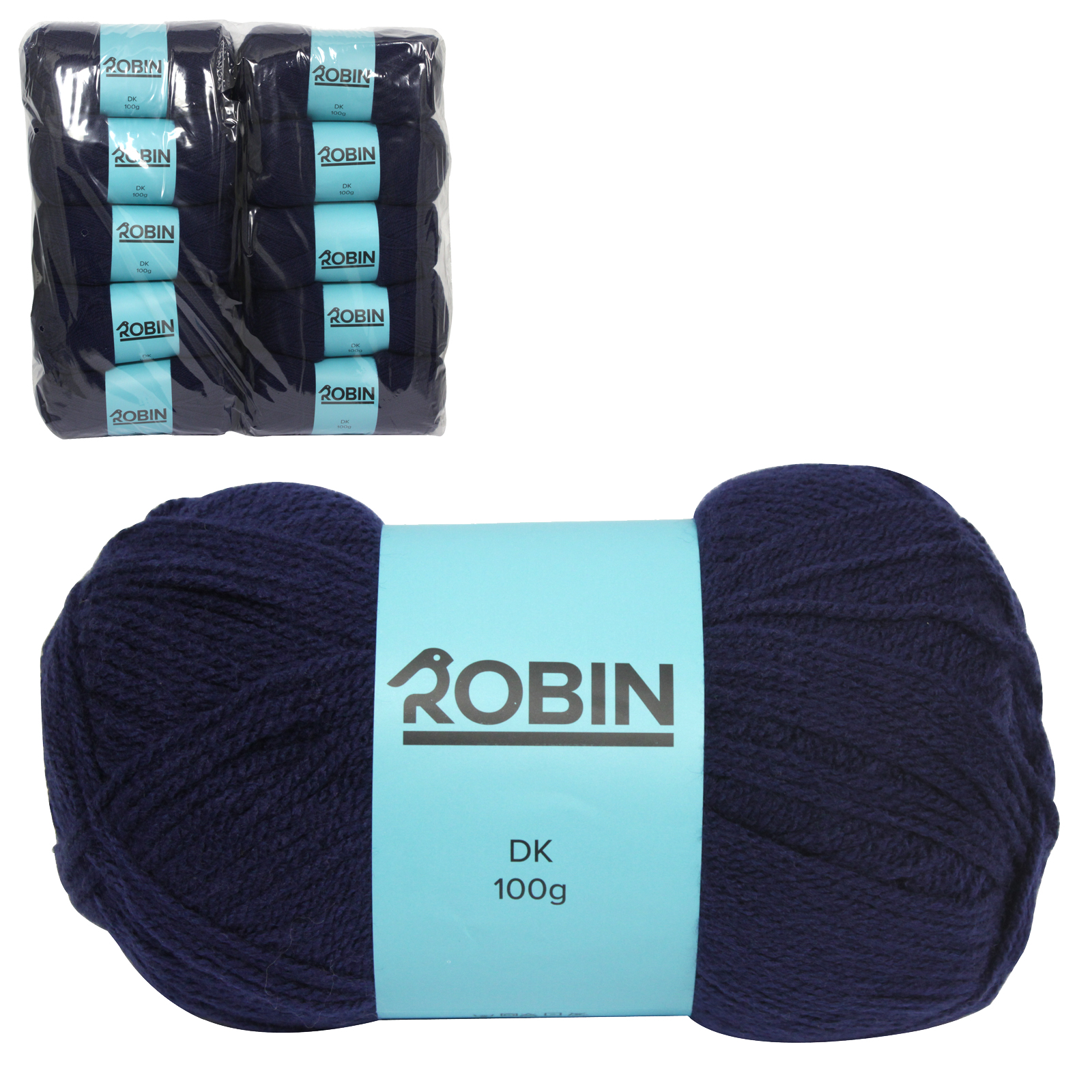 ROBIN 4032 DOUBLE KNIT WOOL WEIGHT 100GM LENGTH 300M NAVY X10