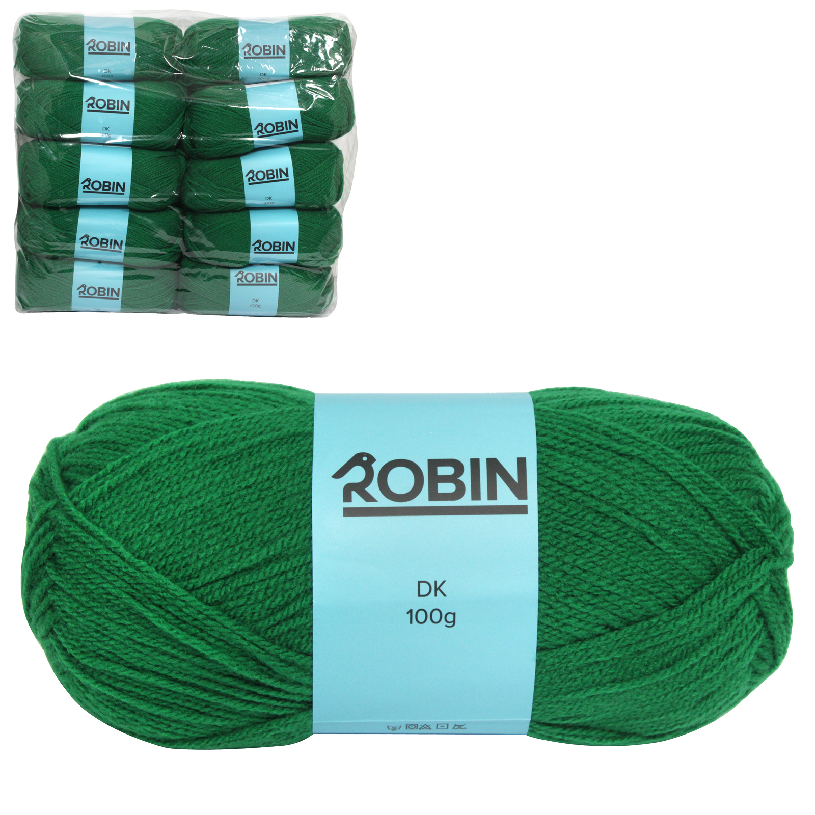 ROBIN 4032 DOUBLE KNIT WOOL WEIGHT 100GM LENGTH 300M EMERALD X10