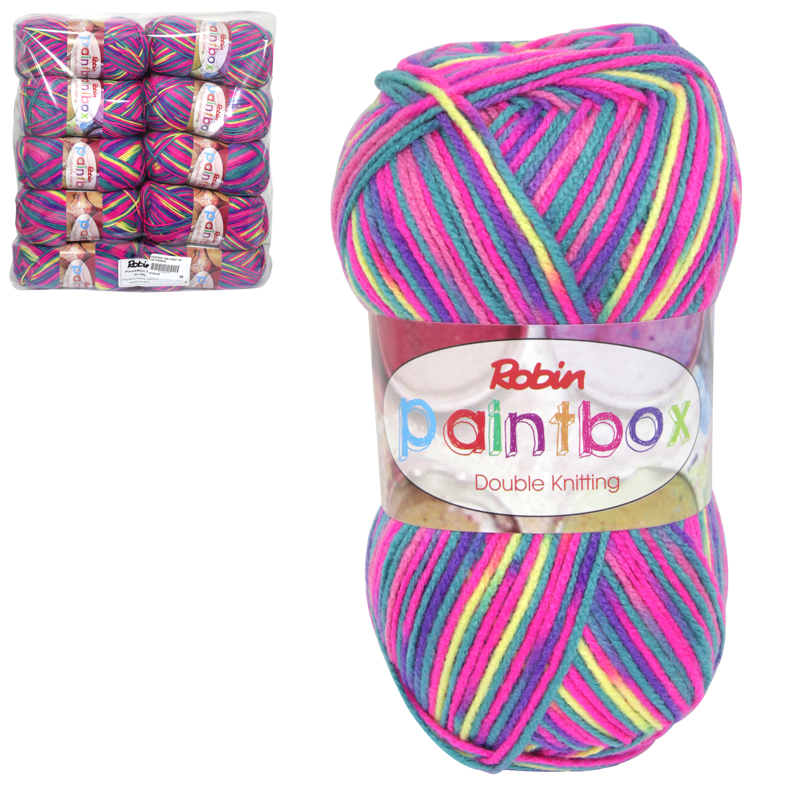 PAINTBOX 1455 DOUBLE KNIT 100GM WOOL CARNIVAL X10