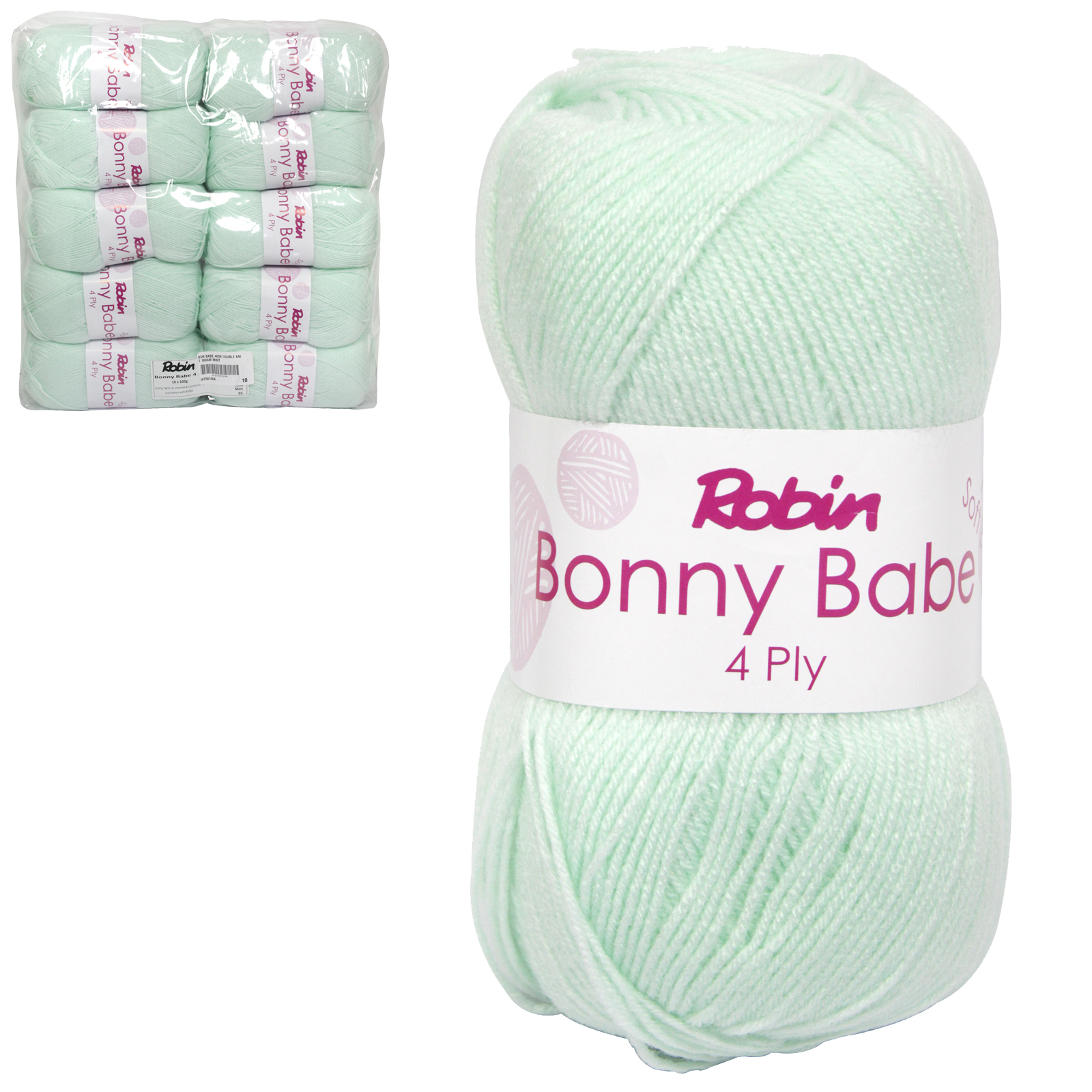 ROBIN BONNY BABE 4058 DOUBLE KNIT WOOL WEIGHT 100GM LENGTH 300M MINT X10