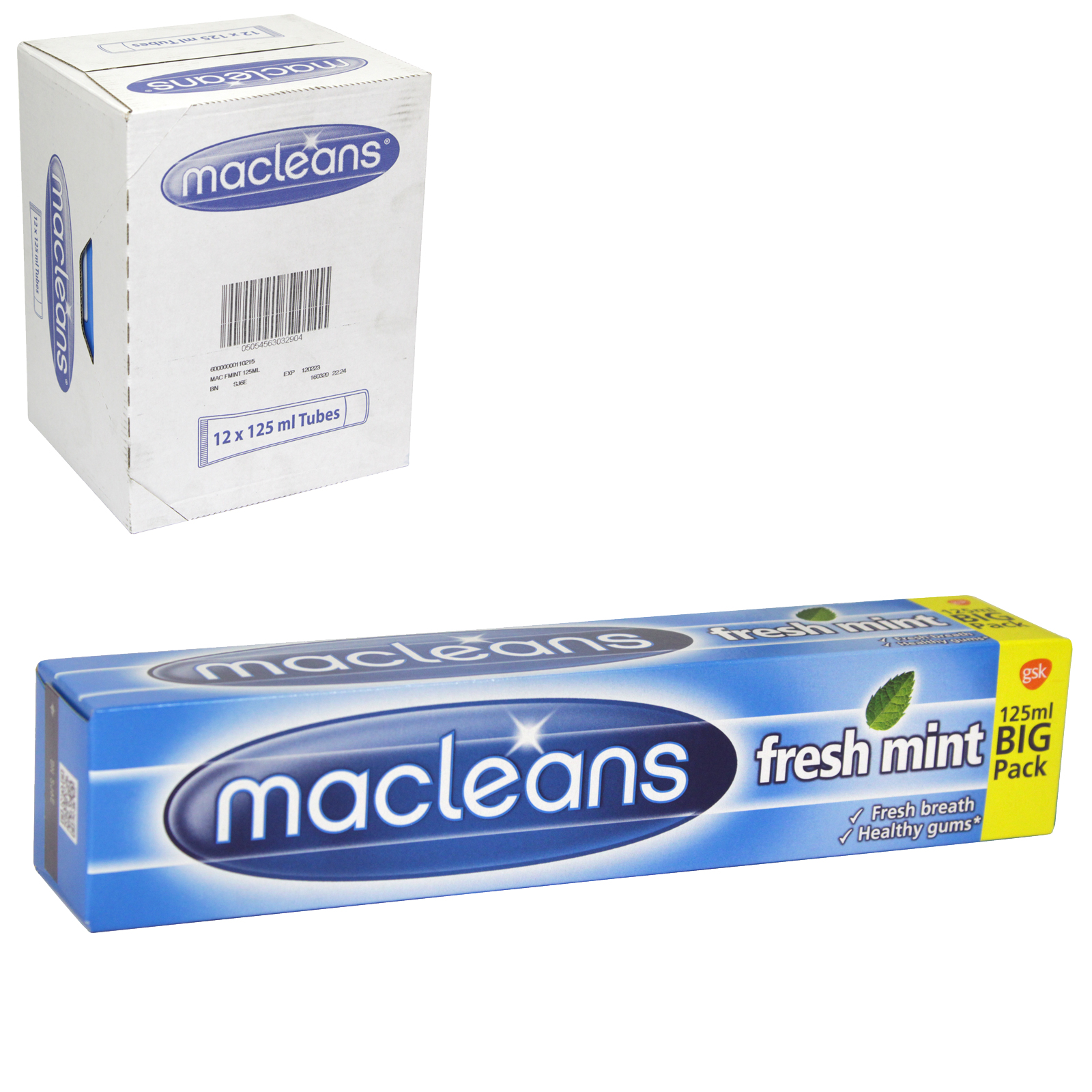 MACLEANS TOOTHPASTE 125ML TUBE FRESHMINT X12
