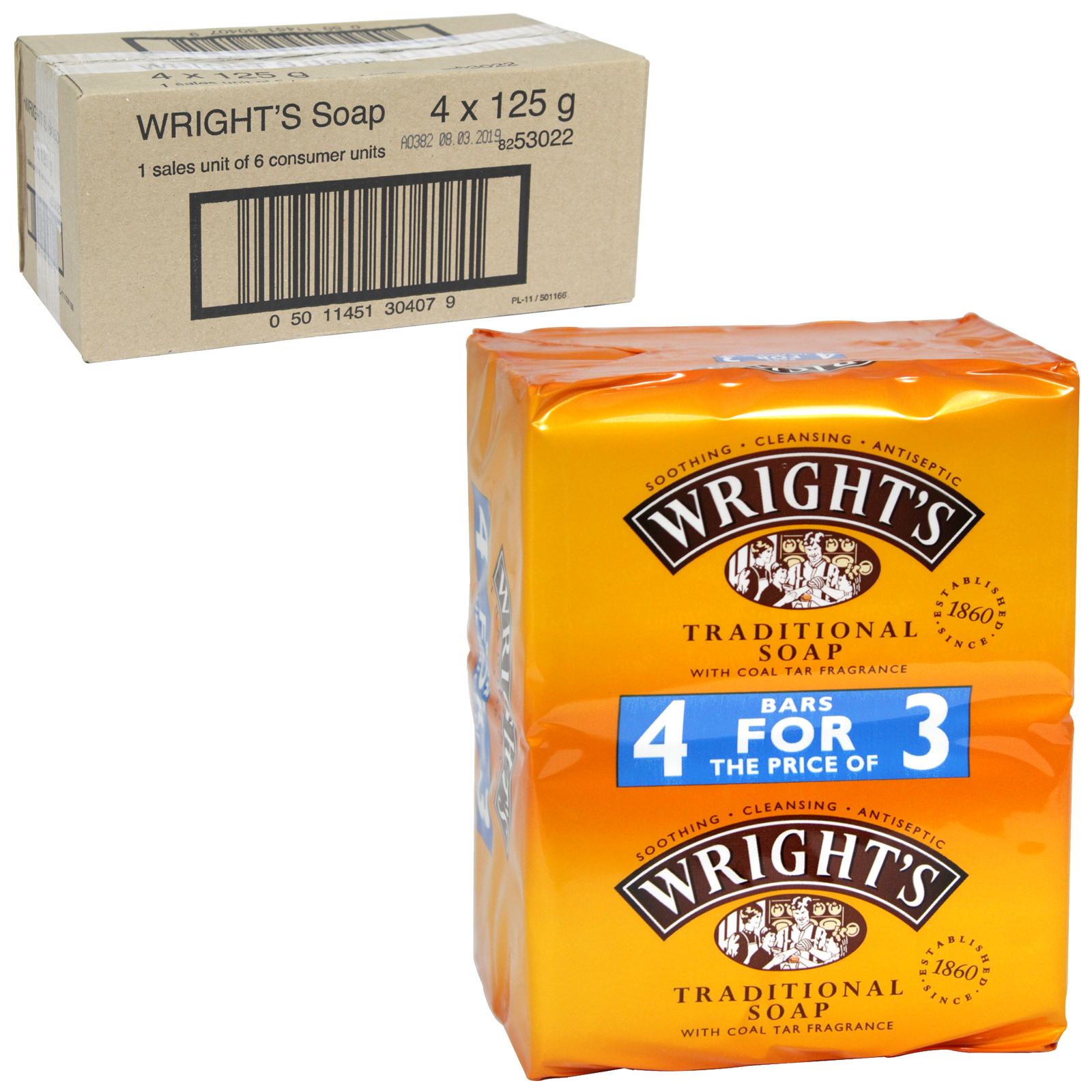 WRIGHTS COAL TAR SOAP 4X125G X6
