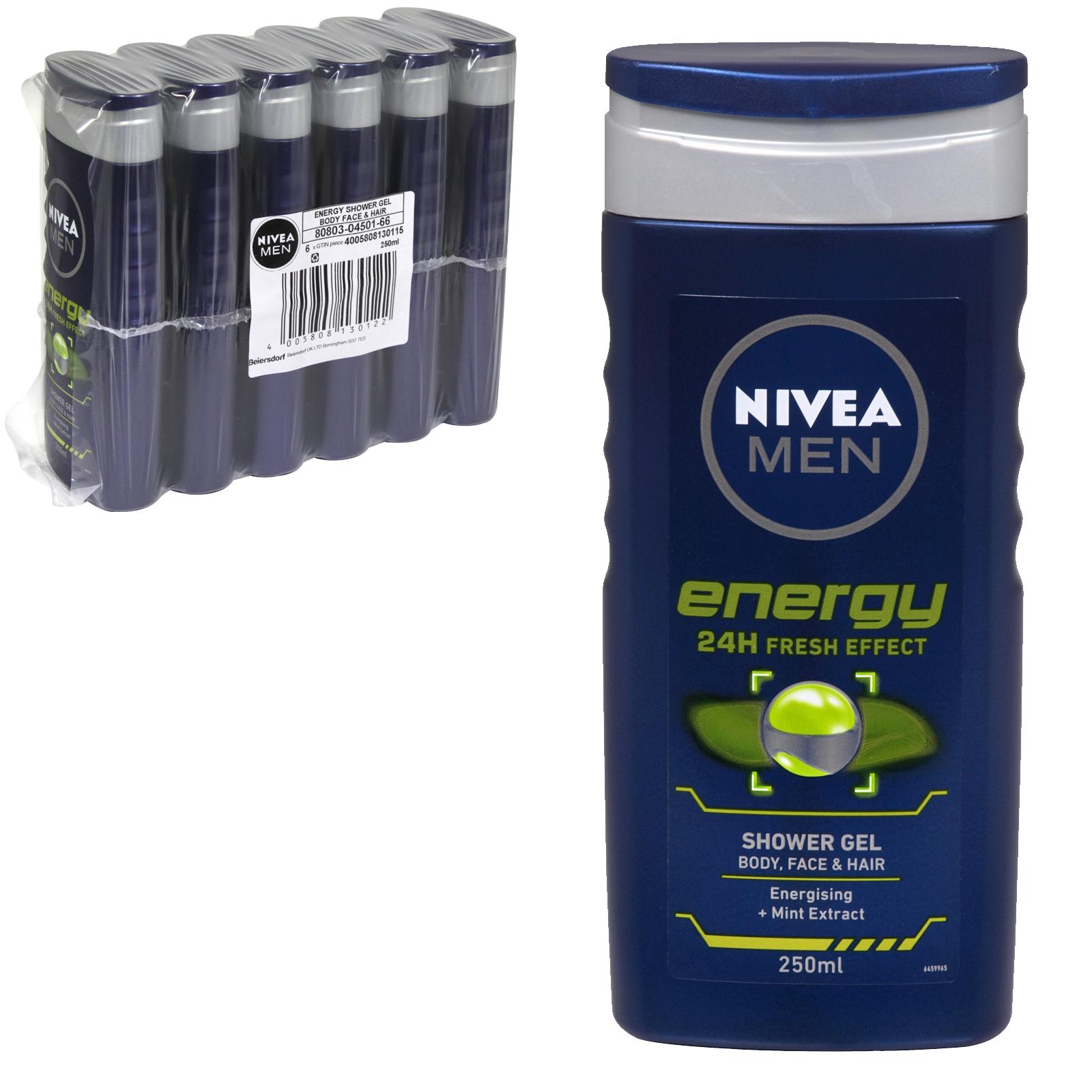 NIVEA SHOWER 250ML ENERGY FOR MEN X6