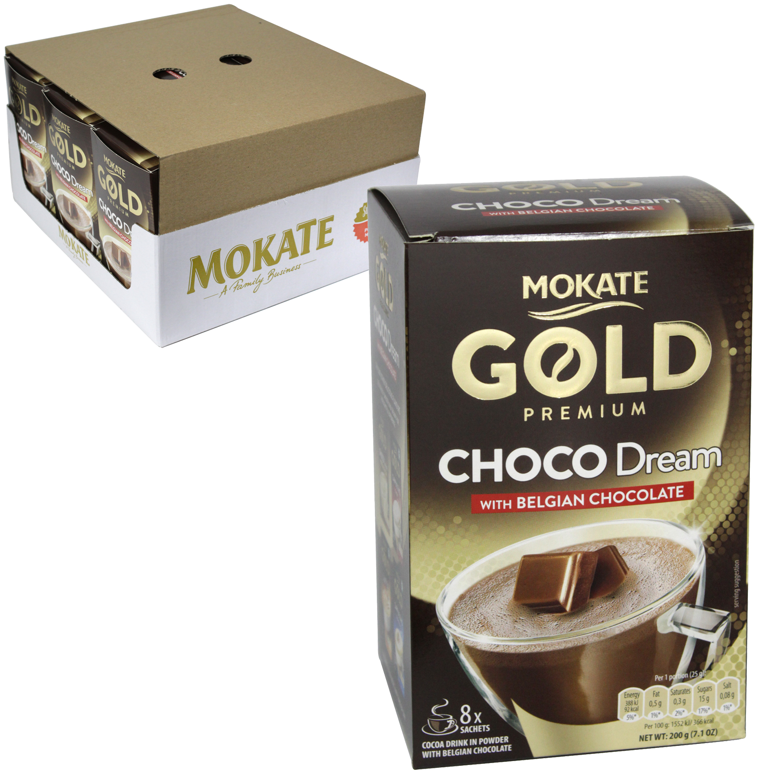 MOKATE GOLD PREMIUM BELGIUM HOT CHOCOLATE 8 SACHETS X9
