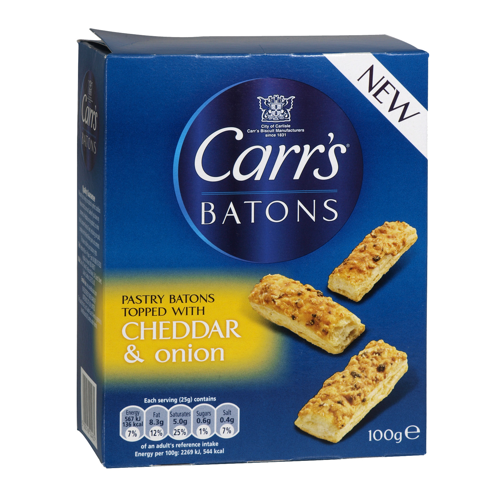CARRS BATONS CHEDDAR & S/ONION 100GM X5