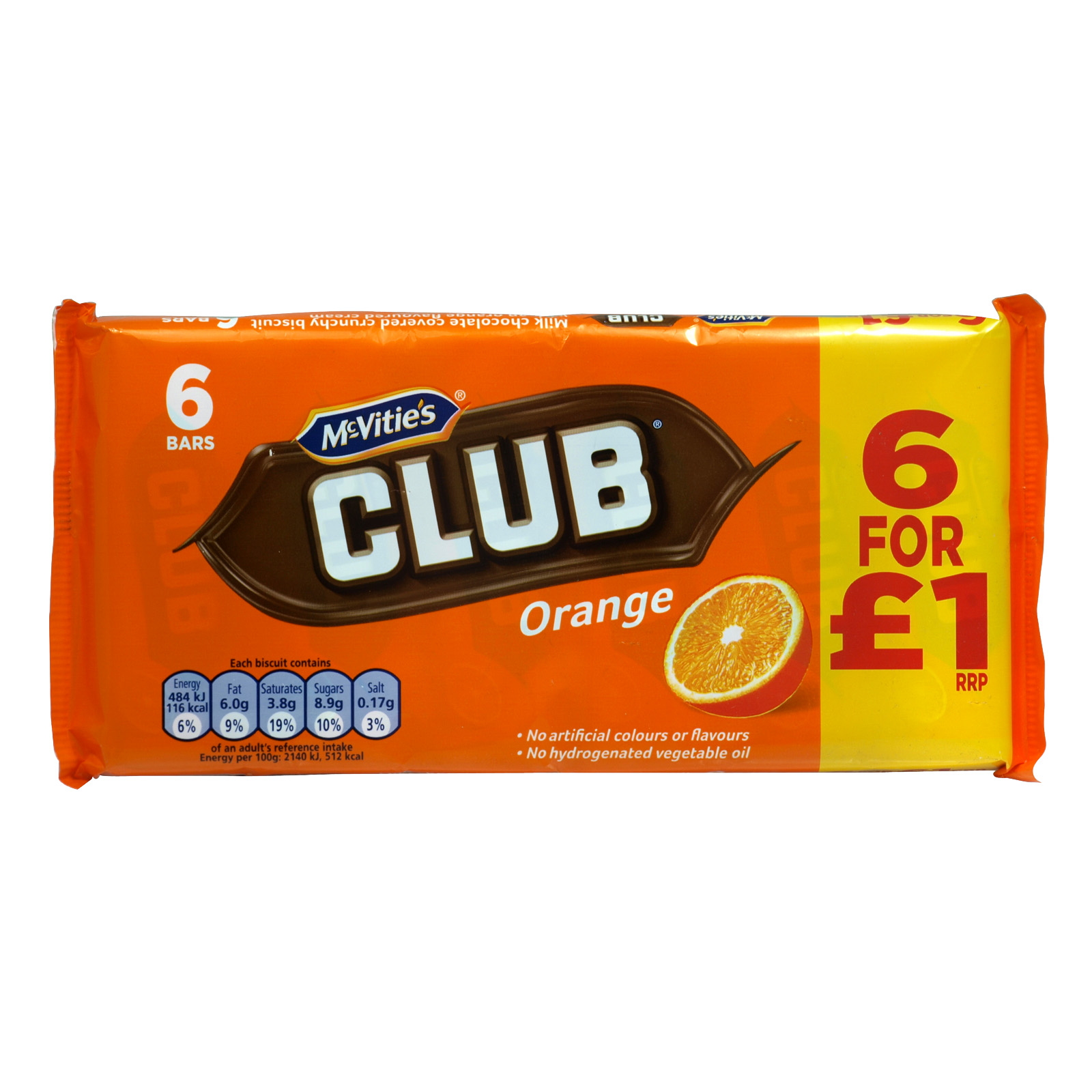MCVITIES CLUB ORANGE 6 PACK PM ?1.00 X12