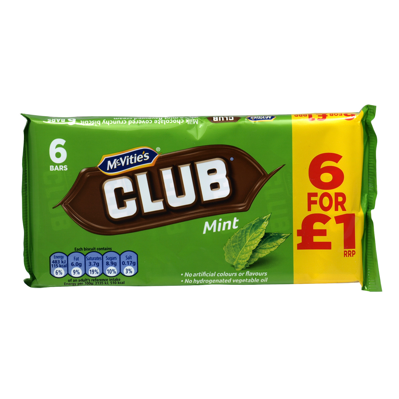 MCVITIES CLUB MINT 6 PACK PM ?1.00 X12