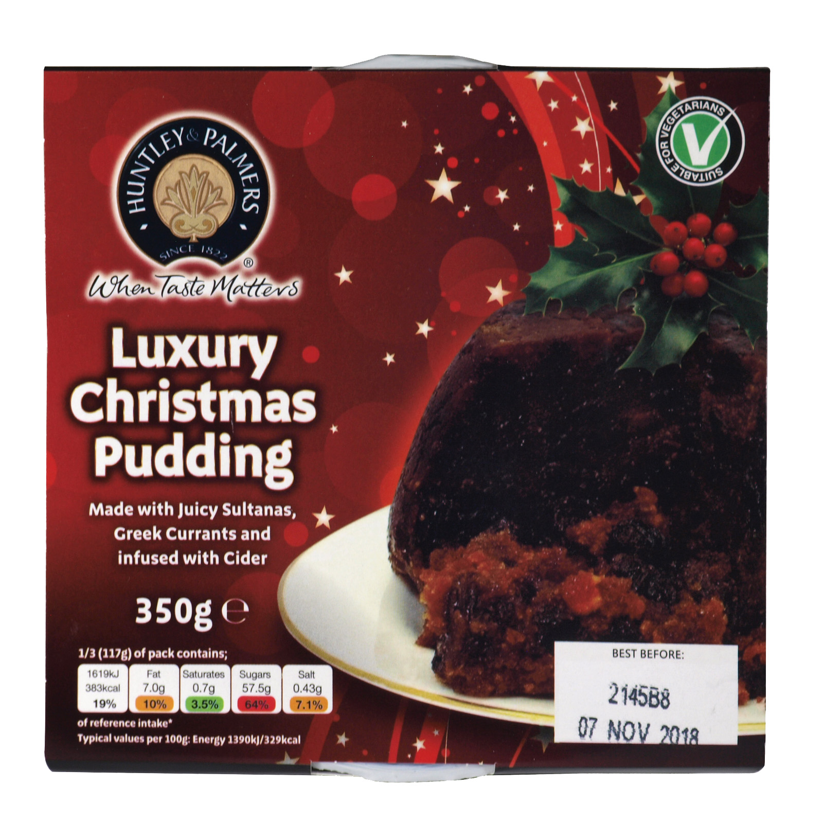 HUNTLEY & PALMER CHRISTMAS PUD 350GM X12