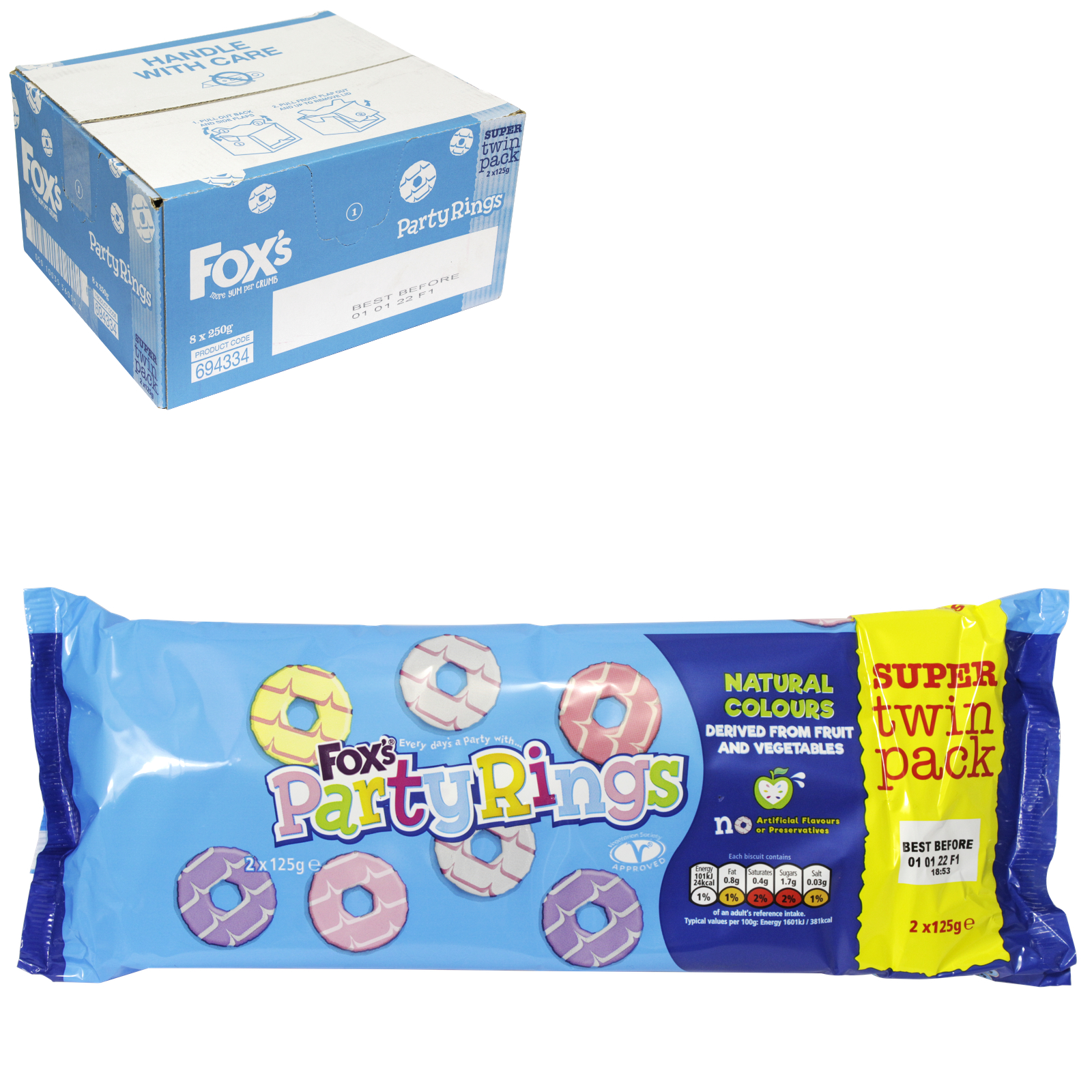 FOXS PARTY RING BISCUIT TWIN PACK 250GM X8