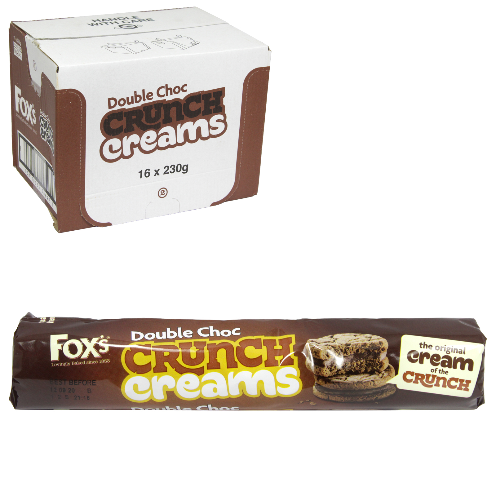 FOXS CRUNCH CREAMS DOUBLE CHOC 230G X16
