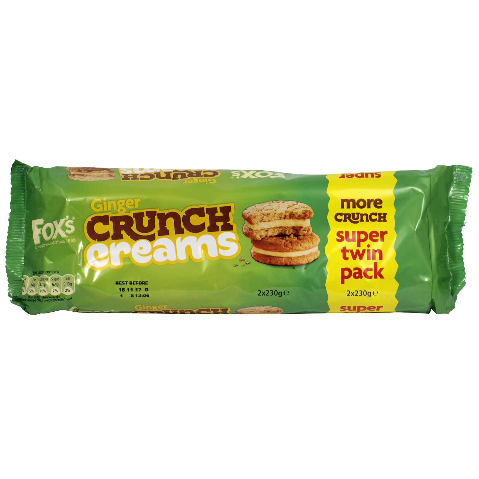 FOXS GINGER CRUNCH CREAMS 2 X230GM X8