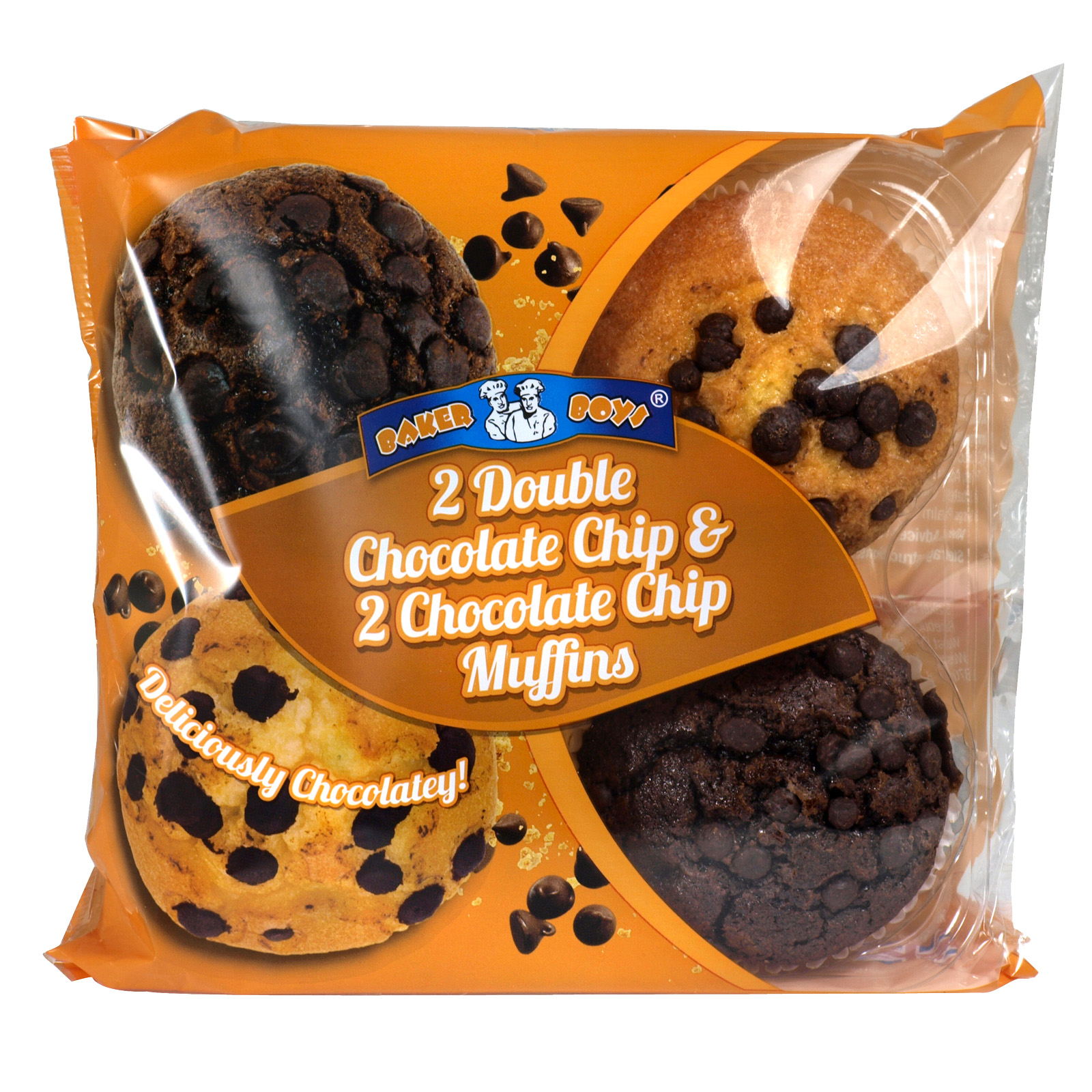 BAKER BOYS 4PK MUFFINS DOUBLE CHOCOLATE CHIP & CHOCOLATE CHIP X12