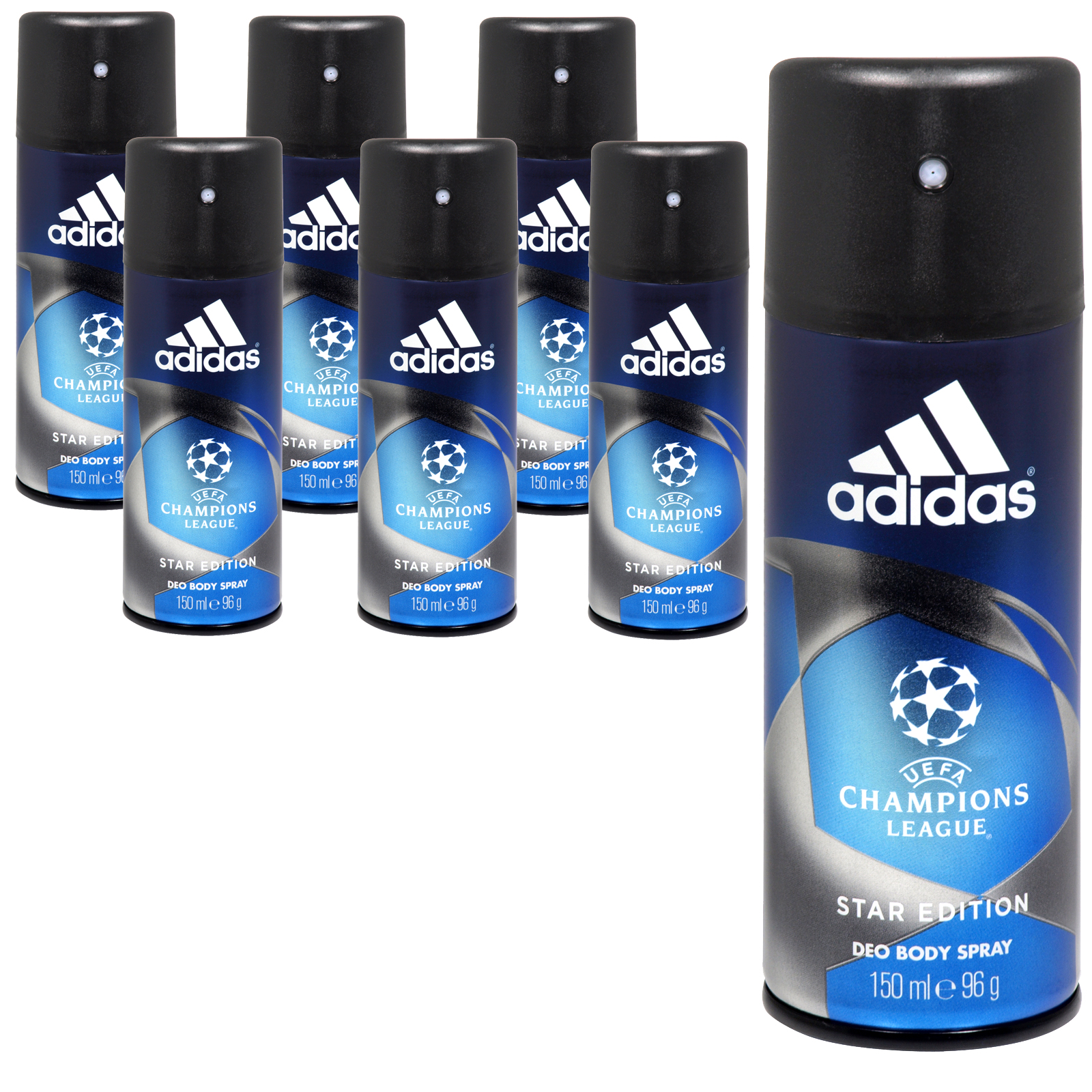 ADIDAS DEO BODY SPRAY 150ML CHAMPIONS LEAGUE STAR EDITION NO 2 X6