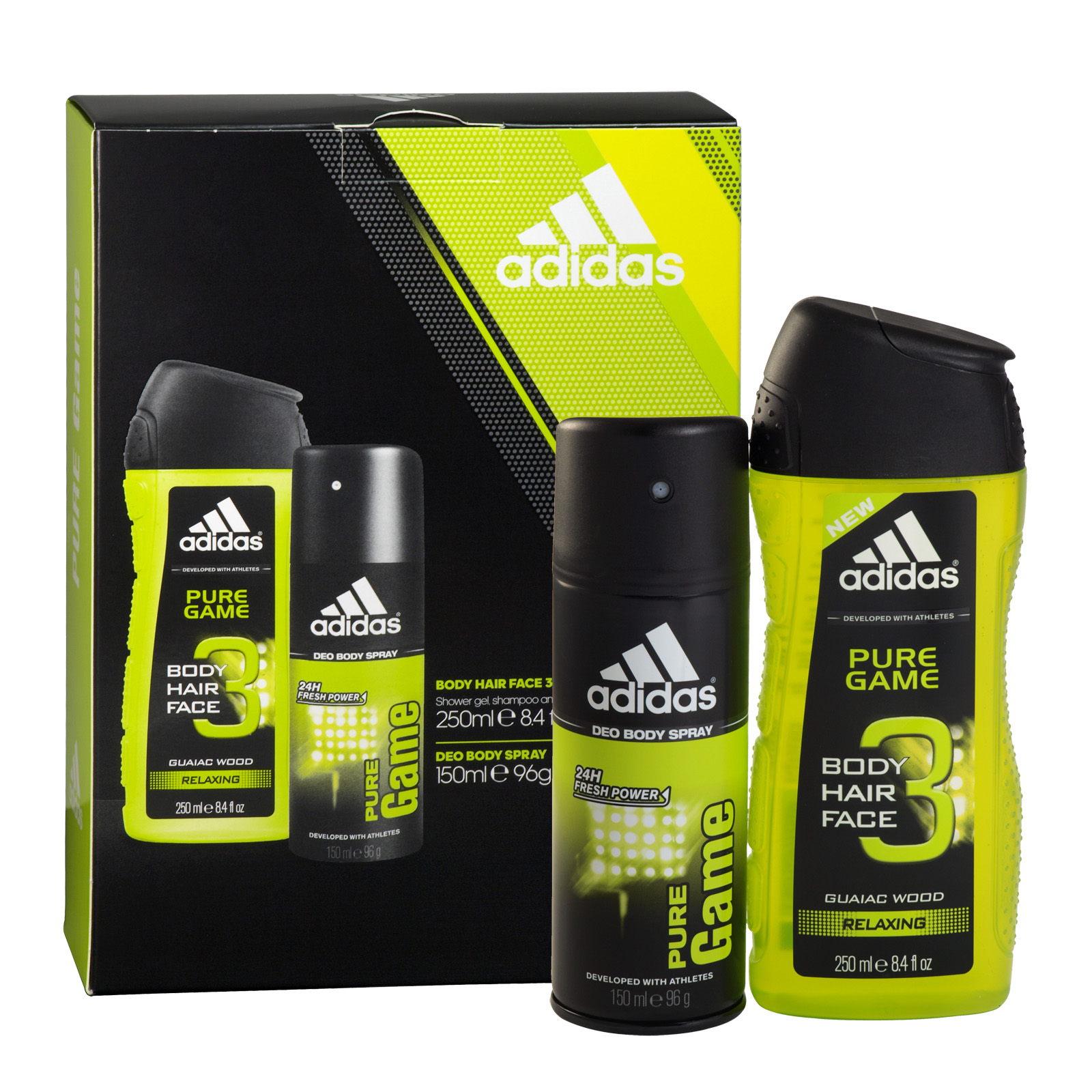 ADIDAS 150ML BODY SPRAY+250ML ALL OVER SHOWER GEL PURE GAME X6