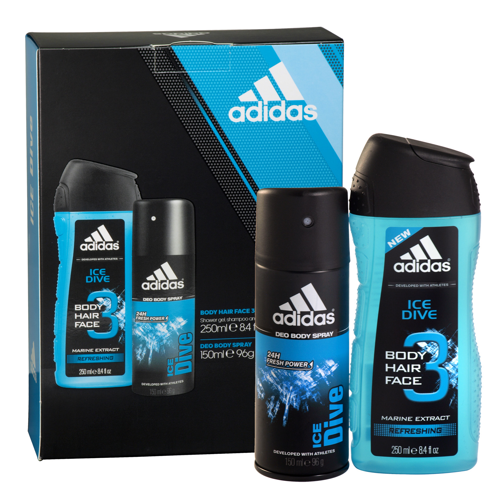 ADIDAS 150ML BODY SPRAY+250ML ALL OVER SHOWER GEL ICE DIVE X6