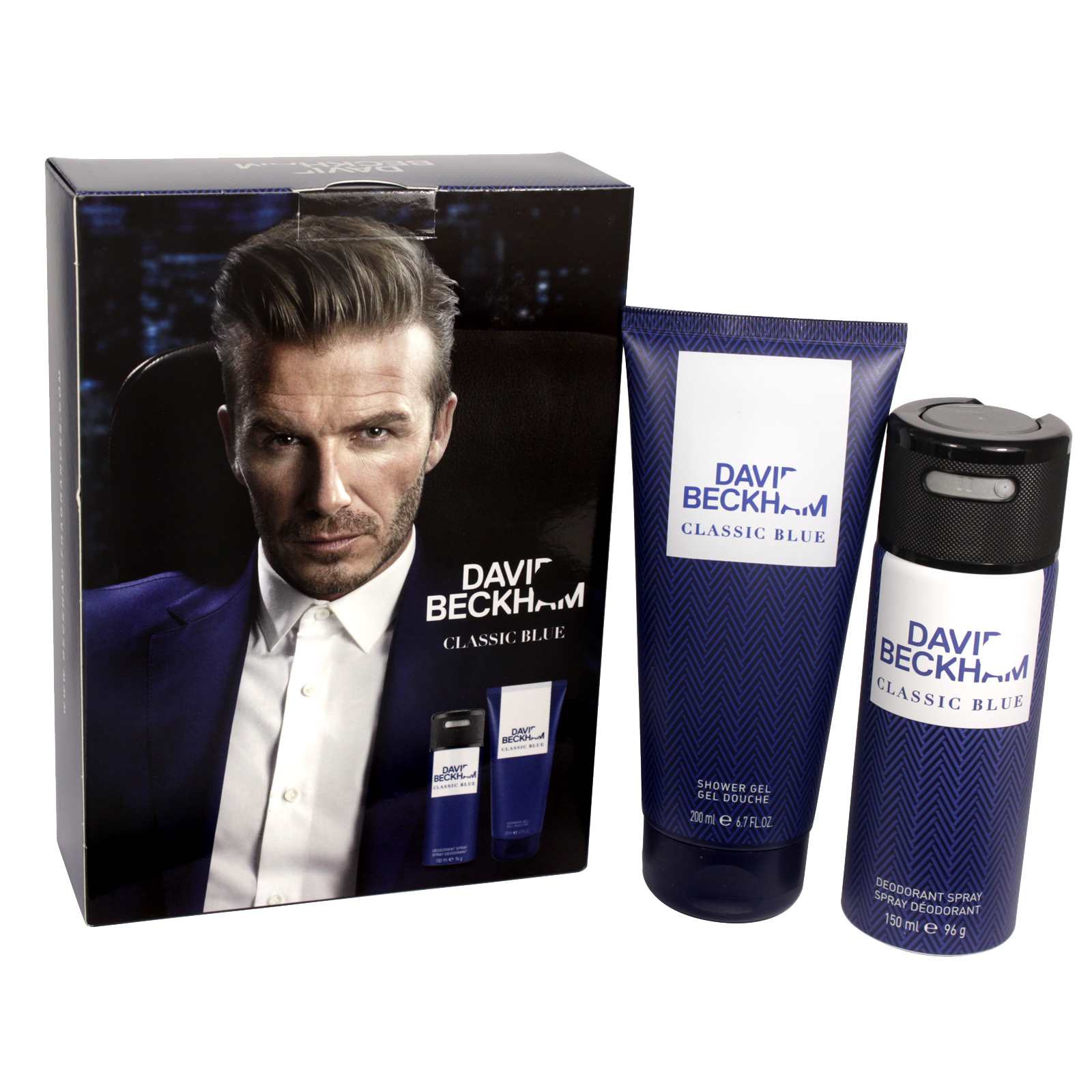 BECKHAM 150ML DEO+200ML SHOWER GEL CLASSIC BLUE X4