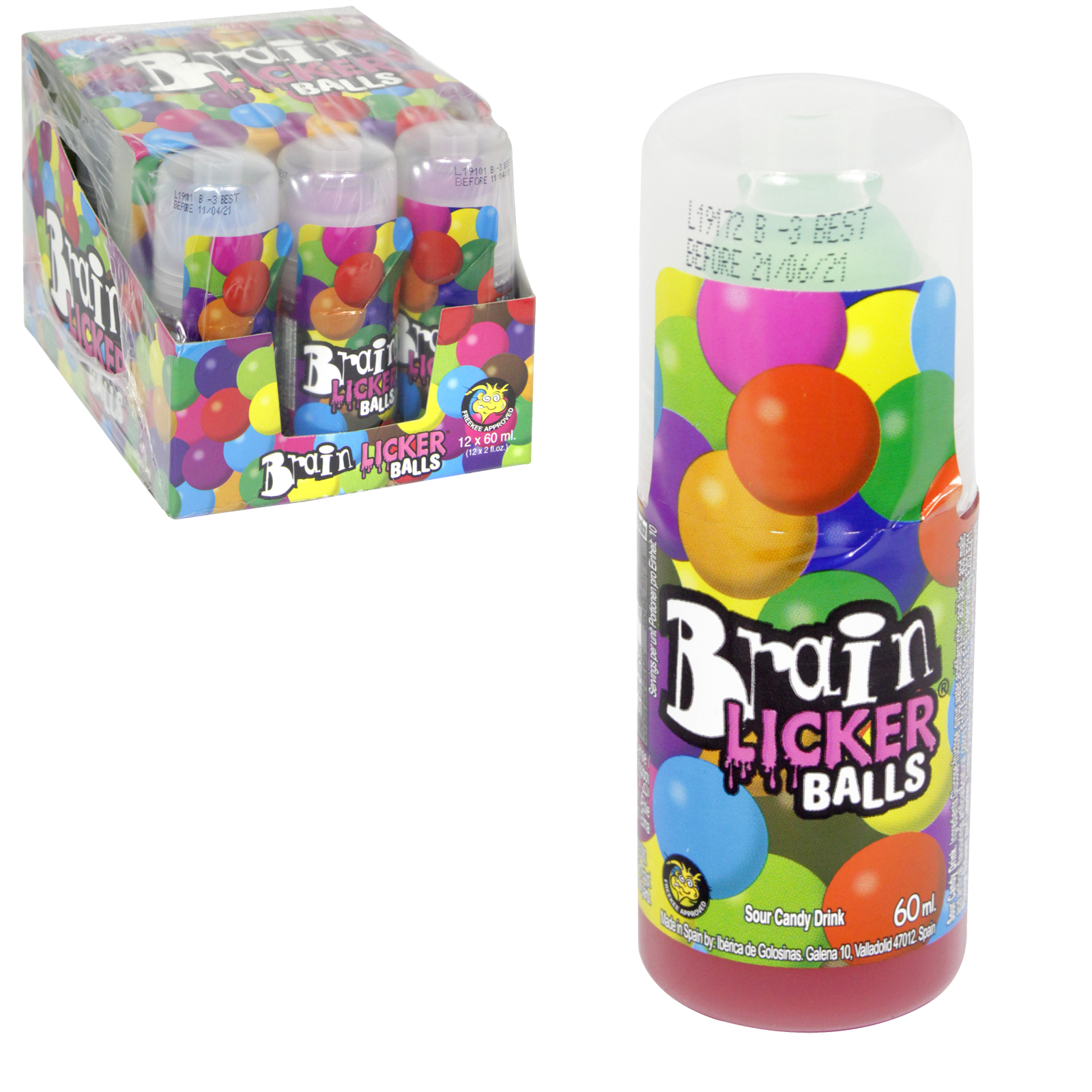 BRAIN LICKER BALLS SOUR CANDY DRINK 60ML X 12