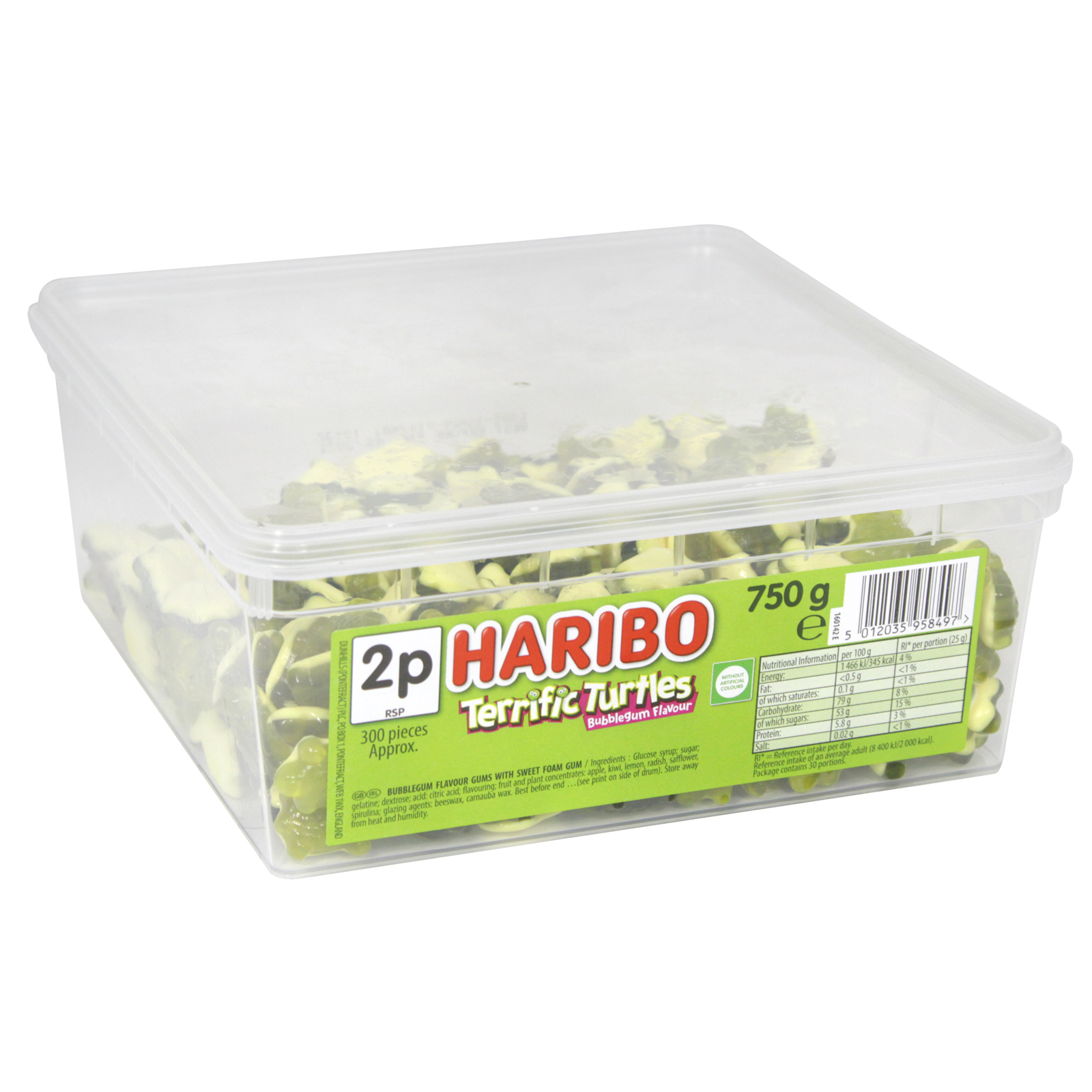 HARIBO TERRIFIC TURTLES DRUM 186GM APPROX 300 PIECES