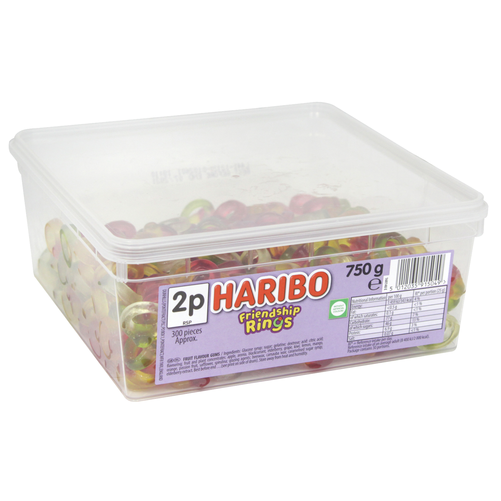 HARIBO FRIENDSHIP RINGS DRUM 750G APPROX 300 PIECES