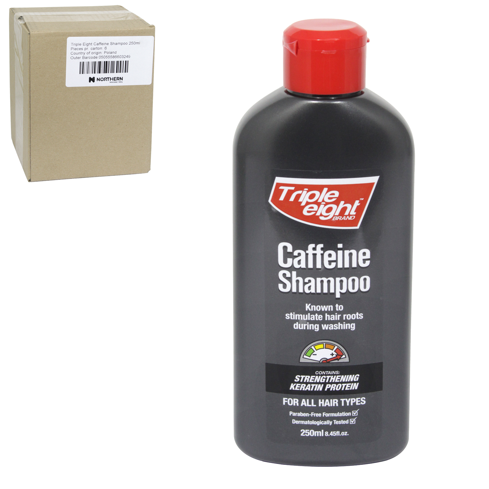 TRIPLE EIGHT CAFFEINE SHAMPOO 250ML X6