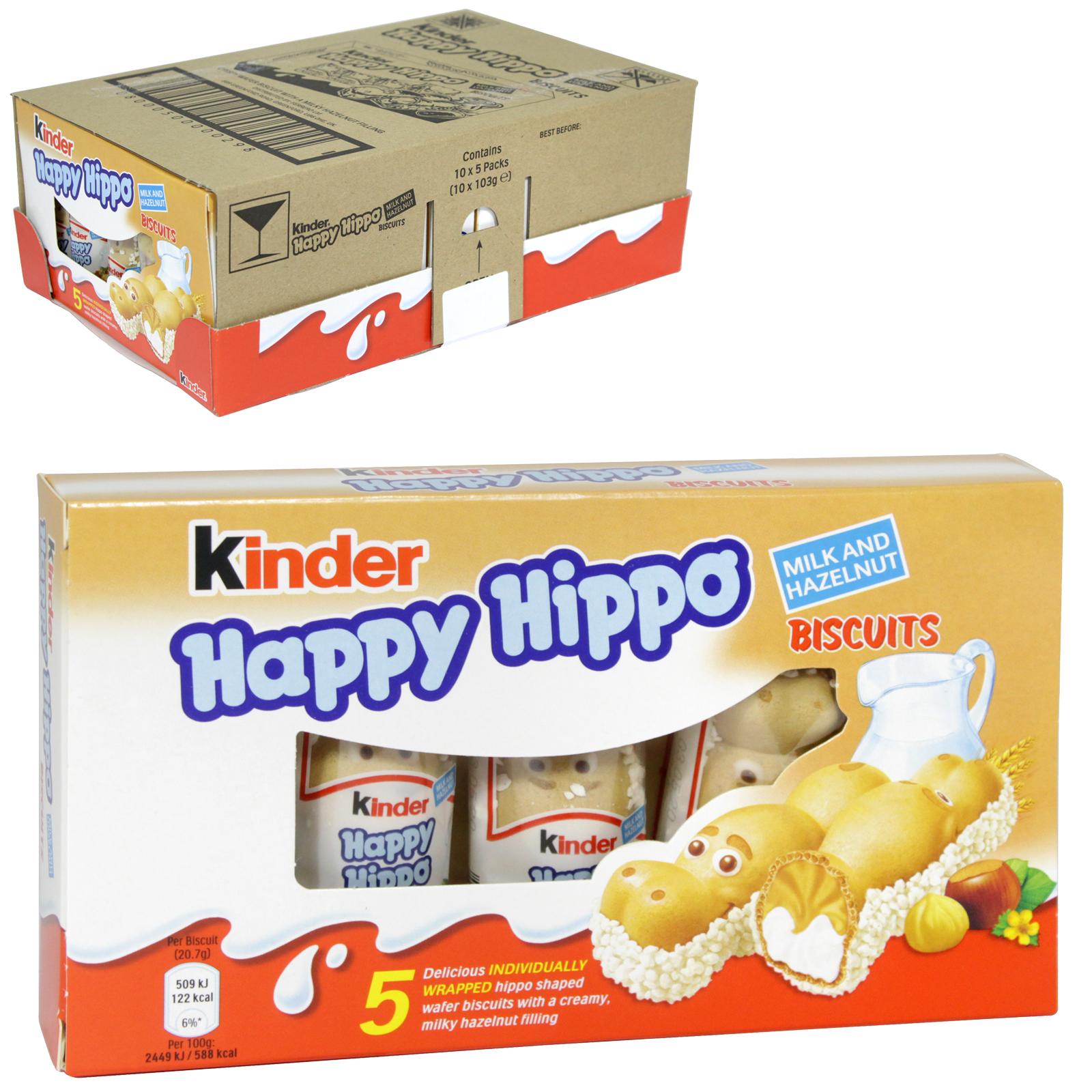 kinder milk  hazelnut happy hippo biscuits 5 pack
