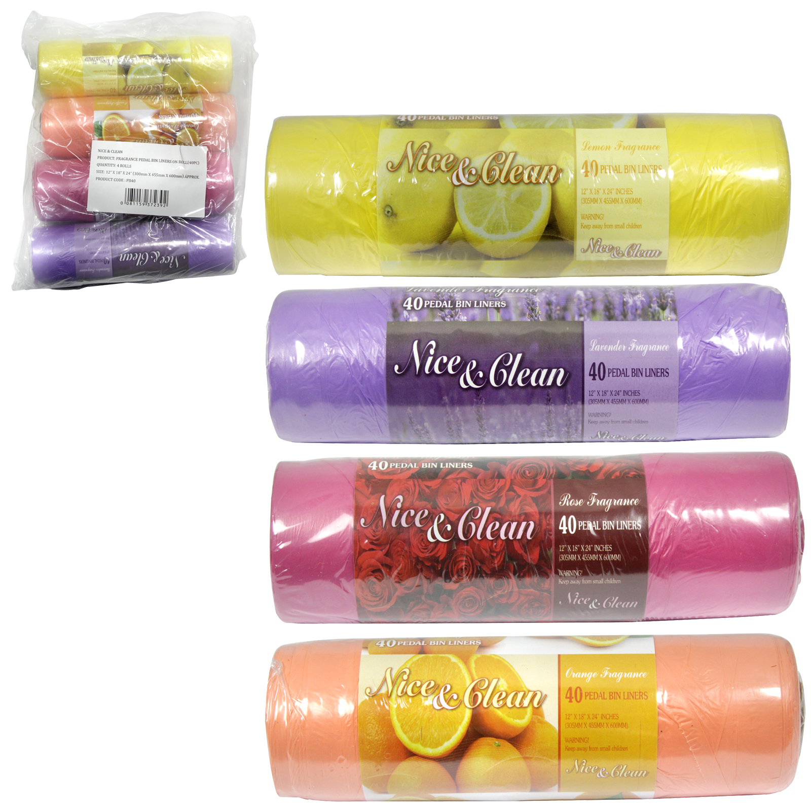 NICE+CLN 40 SCENTED PEDAL BIN LINERS X4