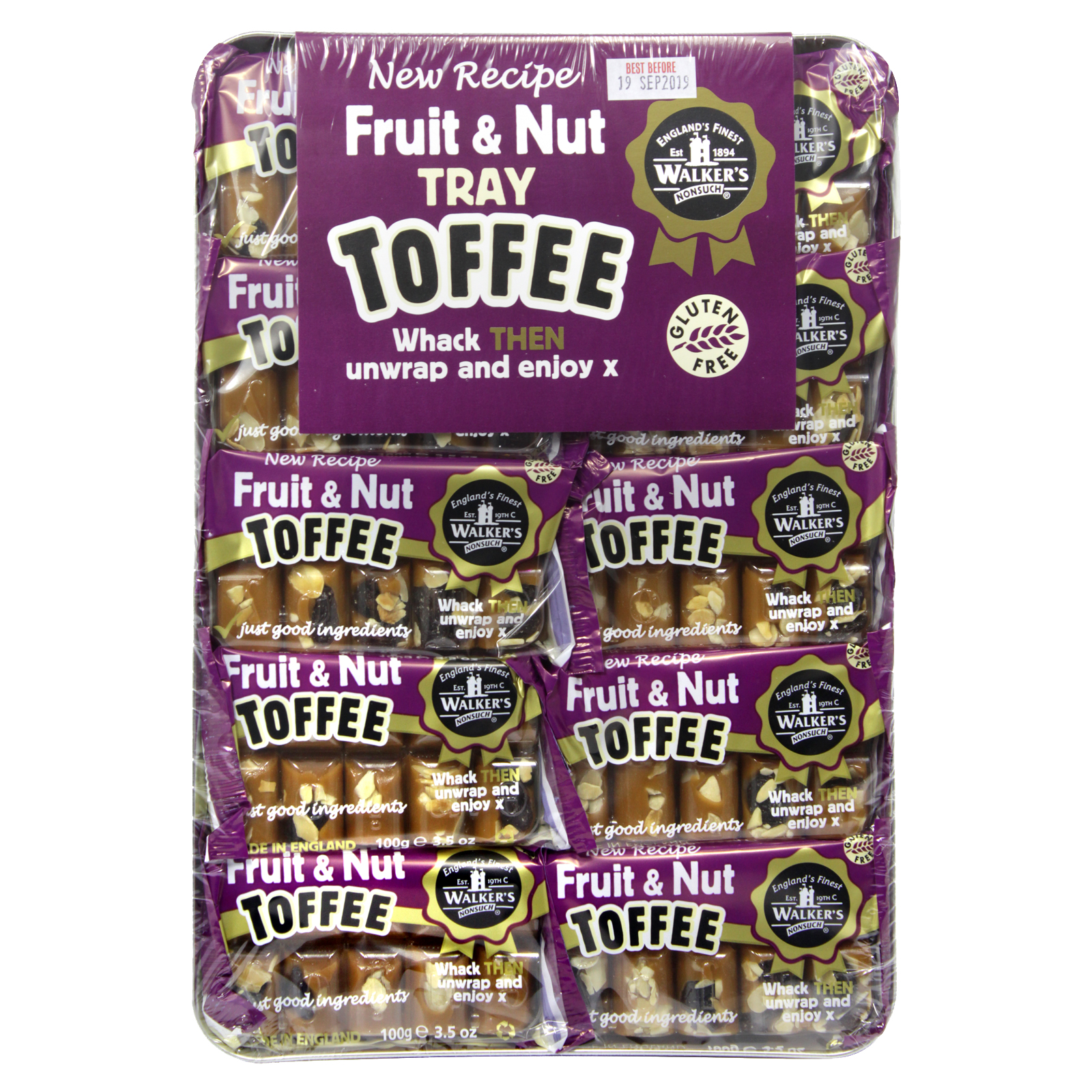 WALKERS TRAY TOFFEE FRUIT & NUT X10