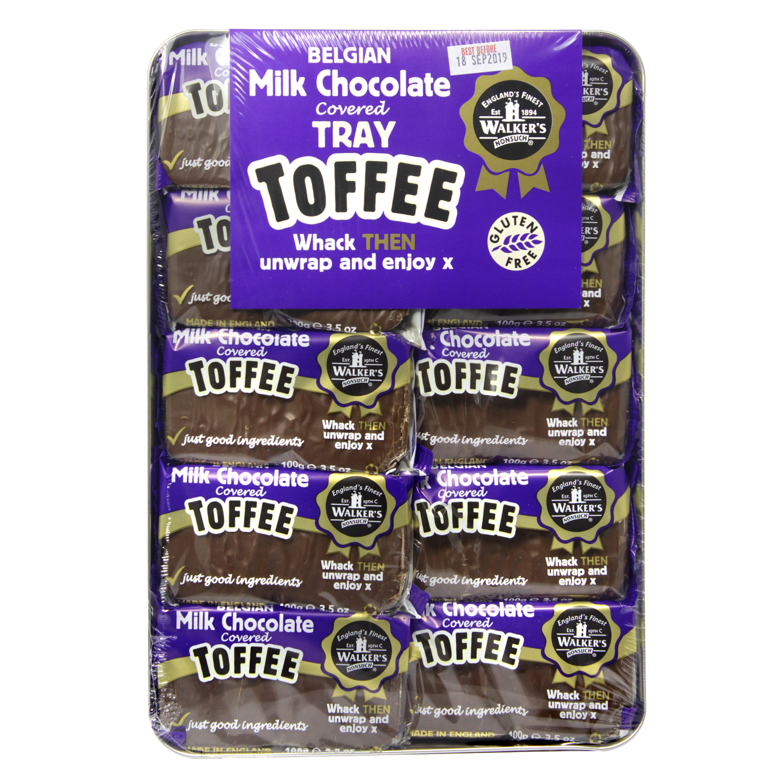 WALKERS TRAY TOFFEE CHOCOLATE COVER X10