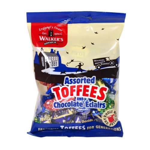 WALKERS 150GM BAG ASSORTED TOFFEES AND CHOCOLATE ECLAIRS X12