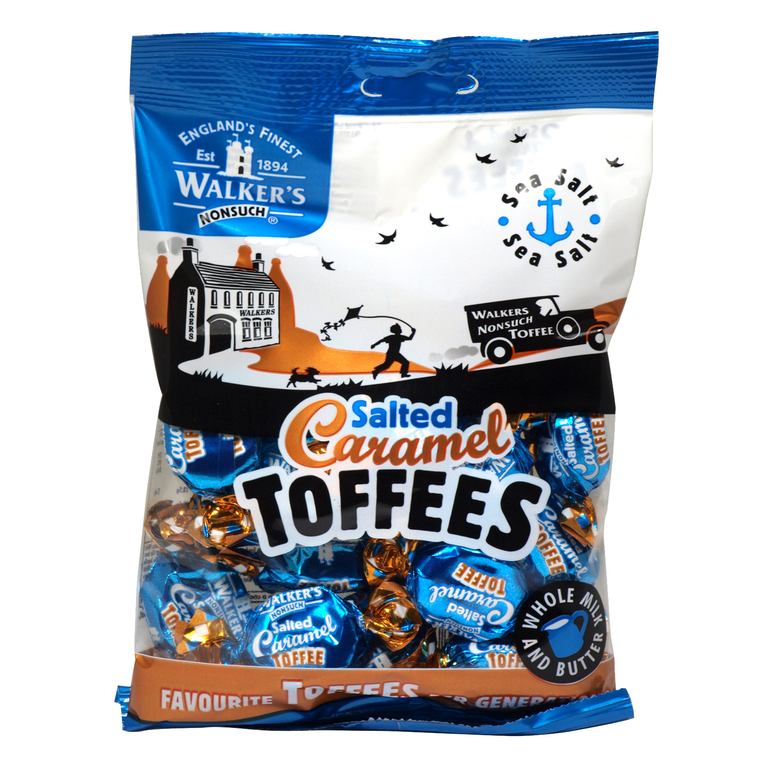 WALKERS BAG 150GM SALTED CARAMEL TOFFEES X12