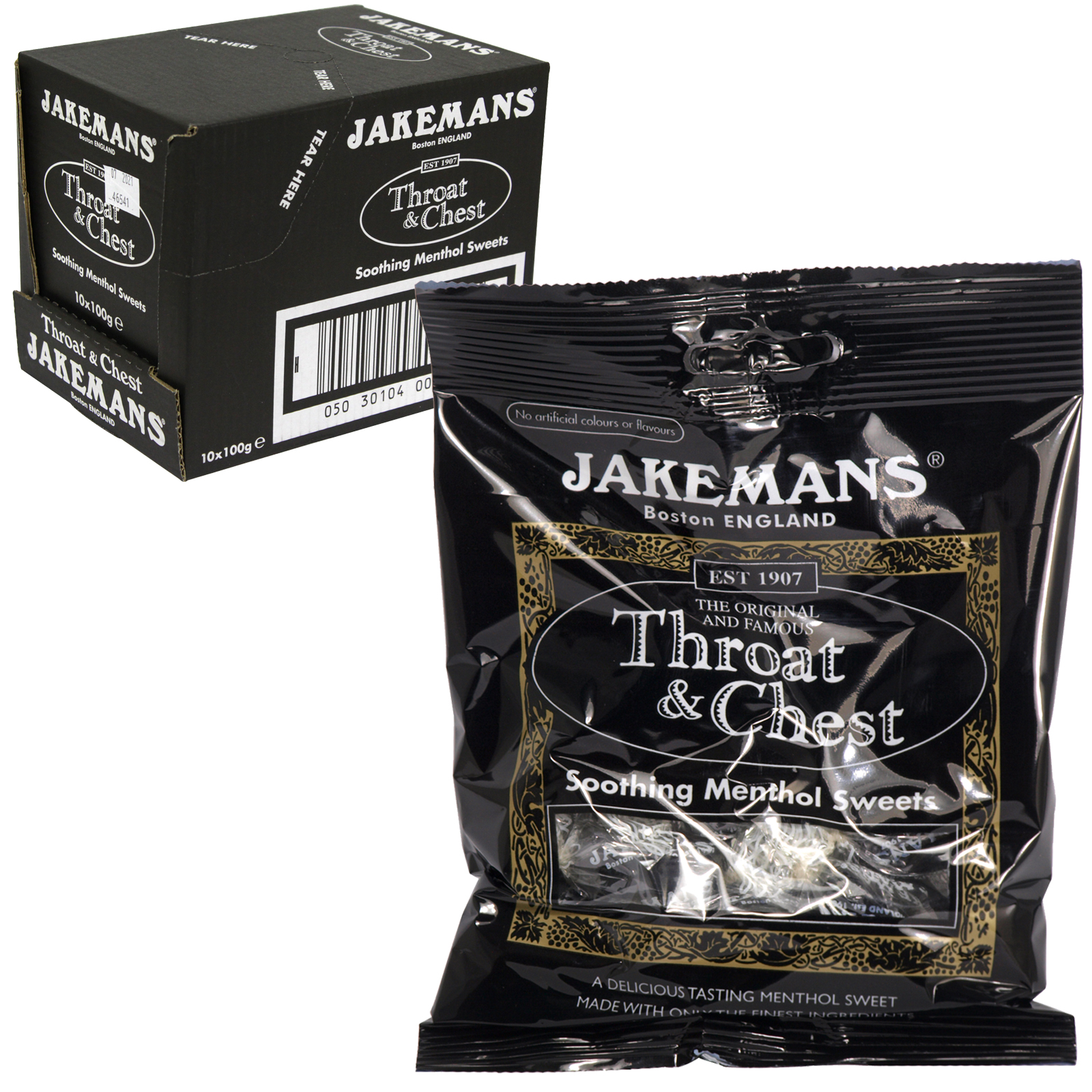 JAKEMANS 100GM BAG THROAT+CHEST X10